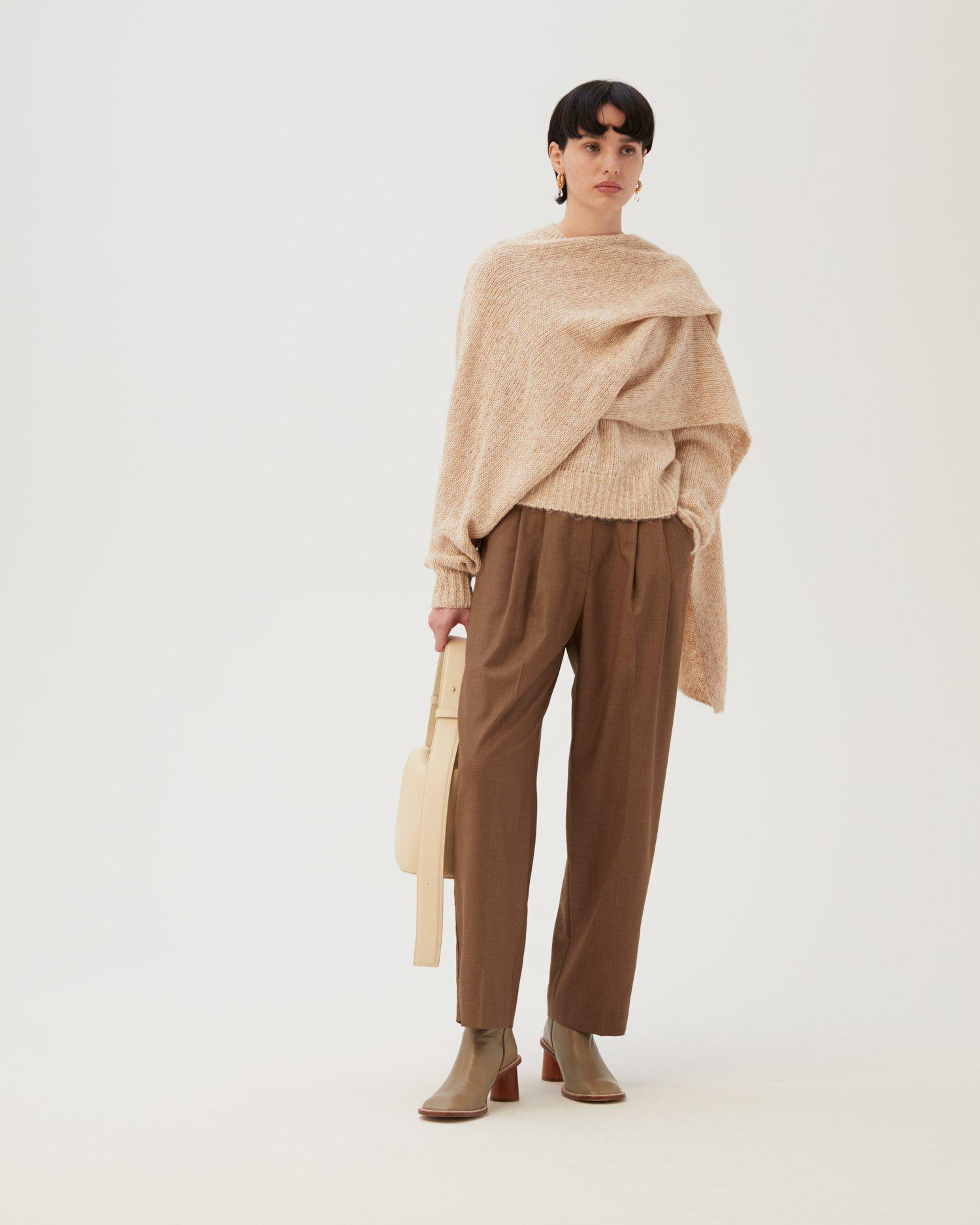 Emily Trousers Wool Blend Suiting Brown