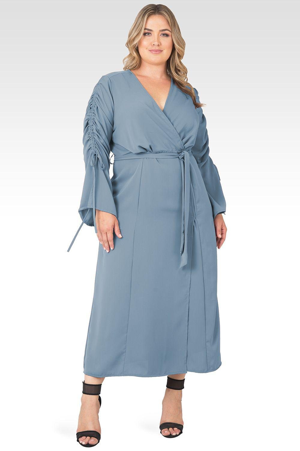 Plus Size Violeta Solid Slate Ruched Sleeves Wrap Maxi Dress