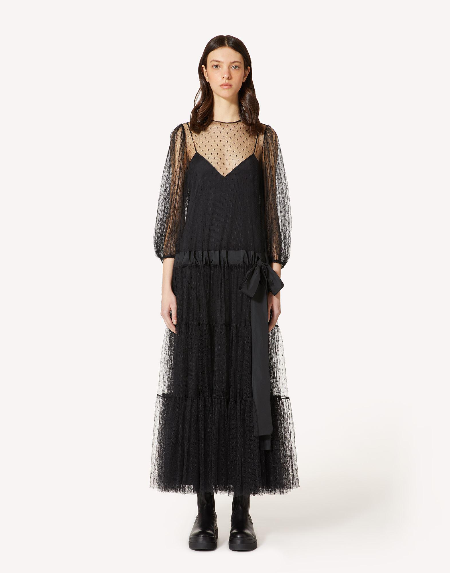 POINT D'ESPRIT TULLE DRESS WITH DRAWSTRING