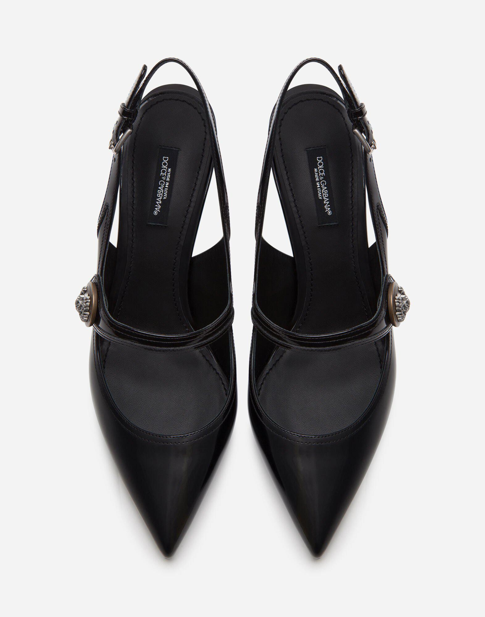 Sling back shoes in polished calfskin with buttons 3