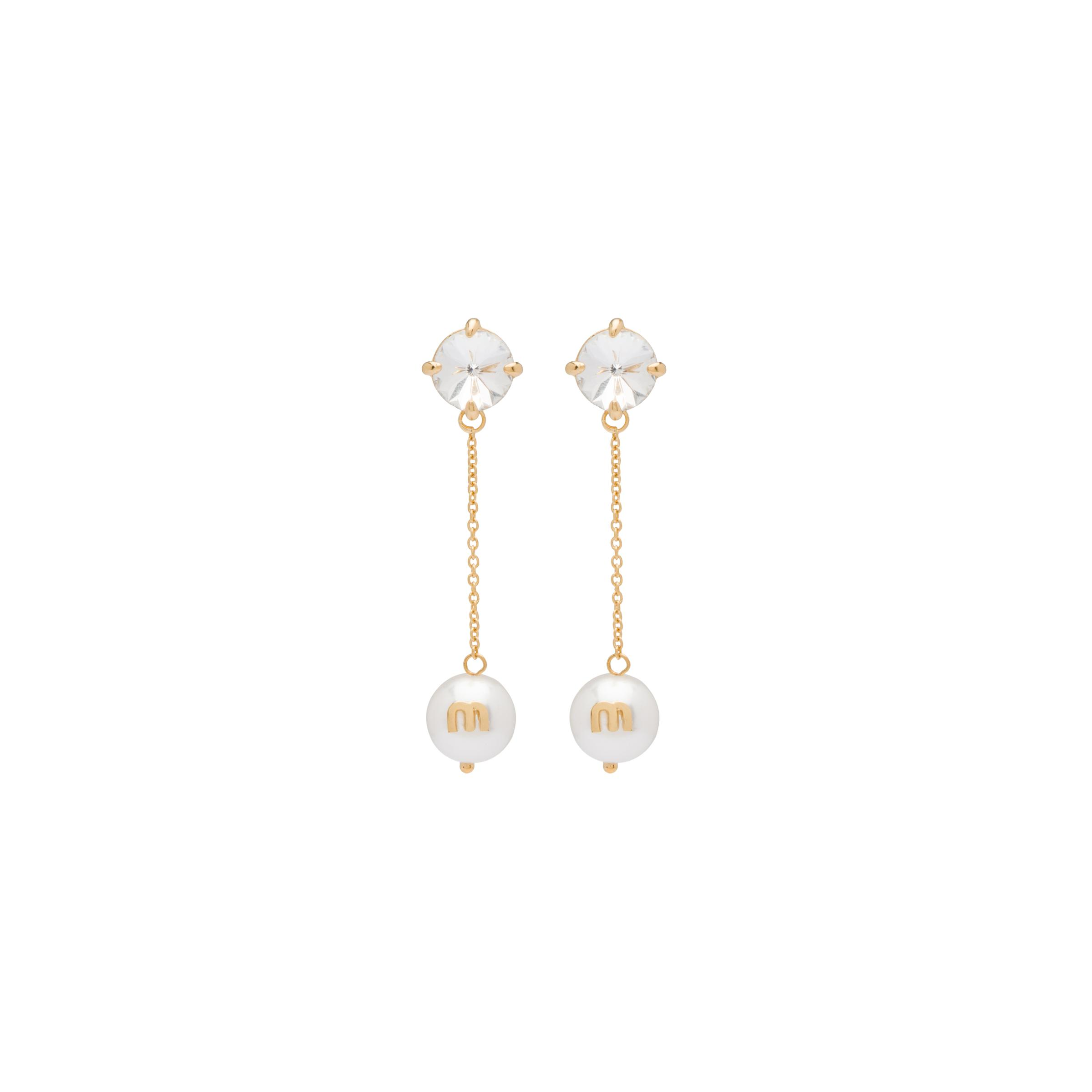 Pendant Earrings With Crystals And Pearl Women Gold / White / Crystal