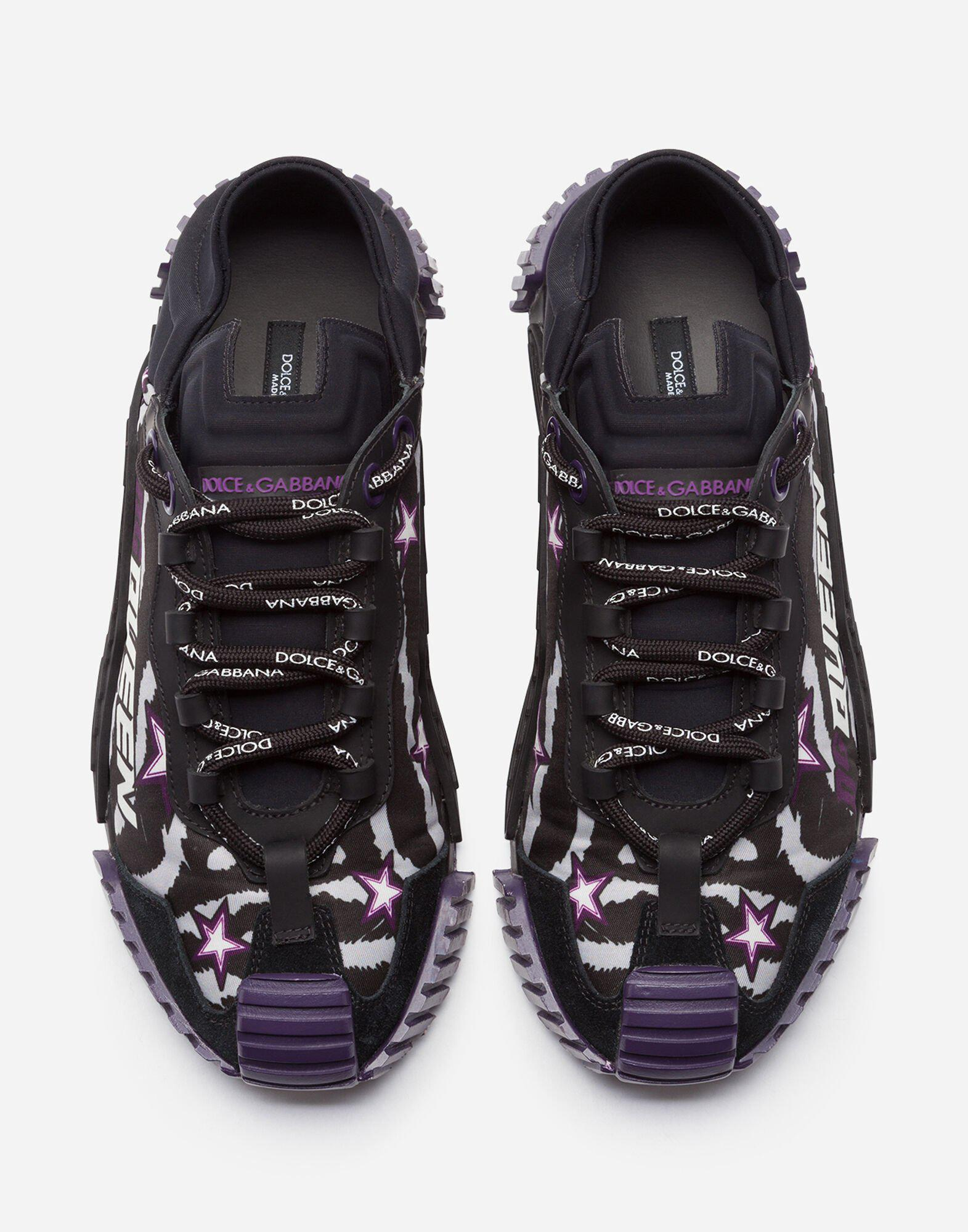 Slip-on NS1 sneakers in mixed materials with jungle print and purple bottom 3