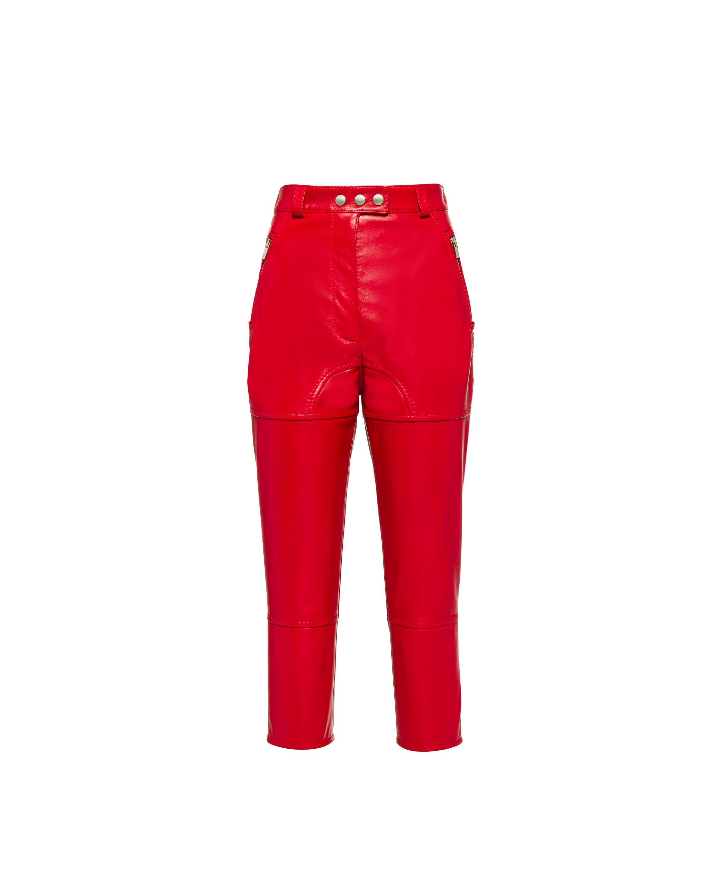 Nappa Leather Pants Women Red