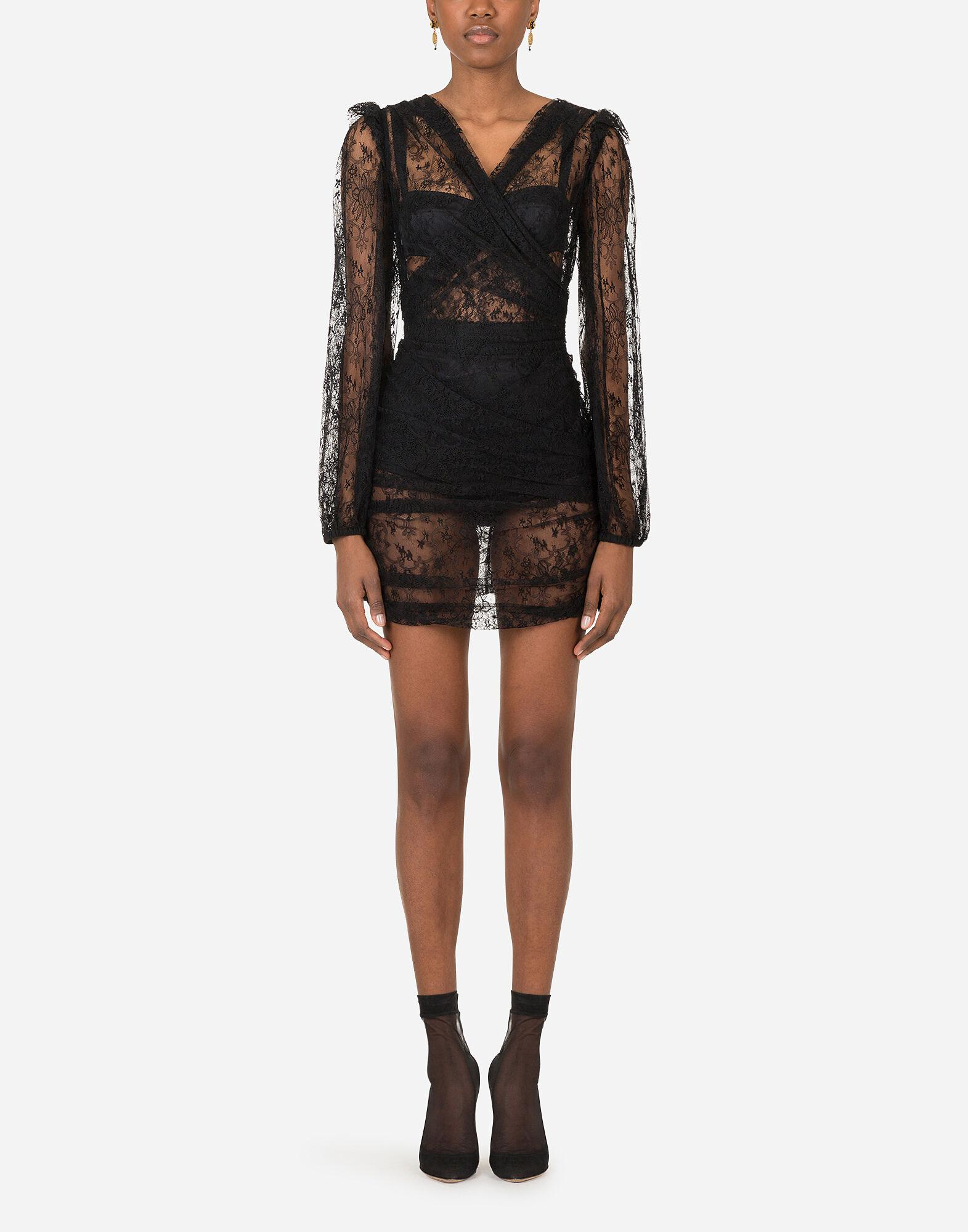 Galloon lace mini dress with draped detailing