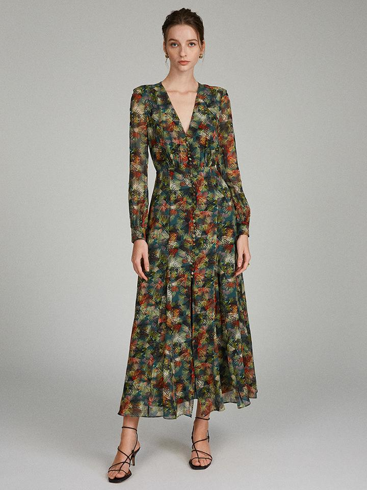 Annabel Dress in Fireworks print with Embroidered Detailing
