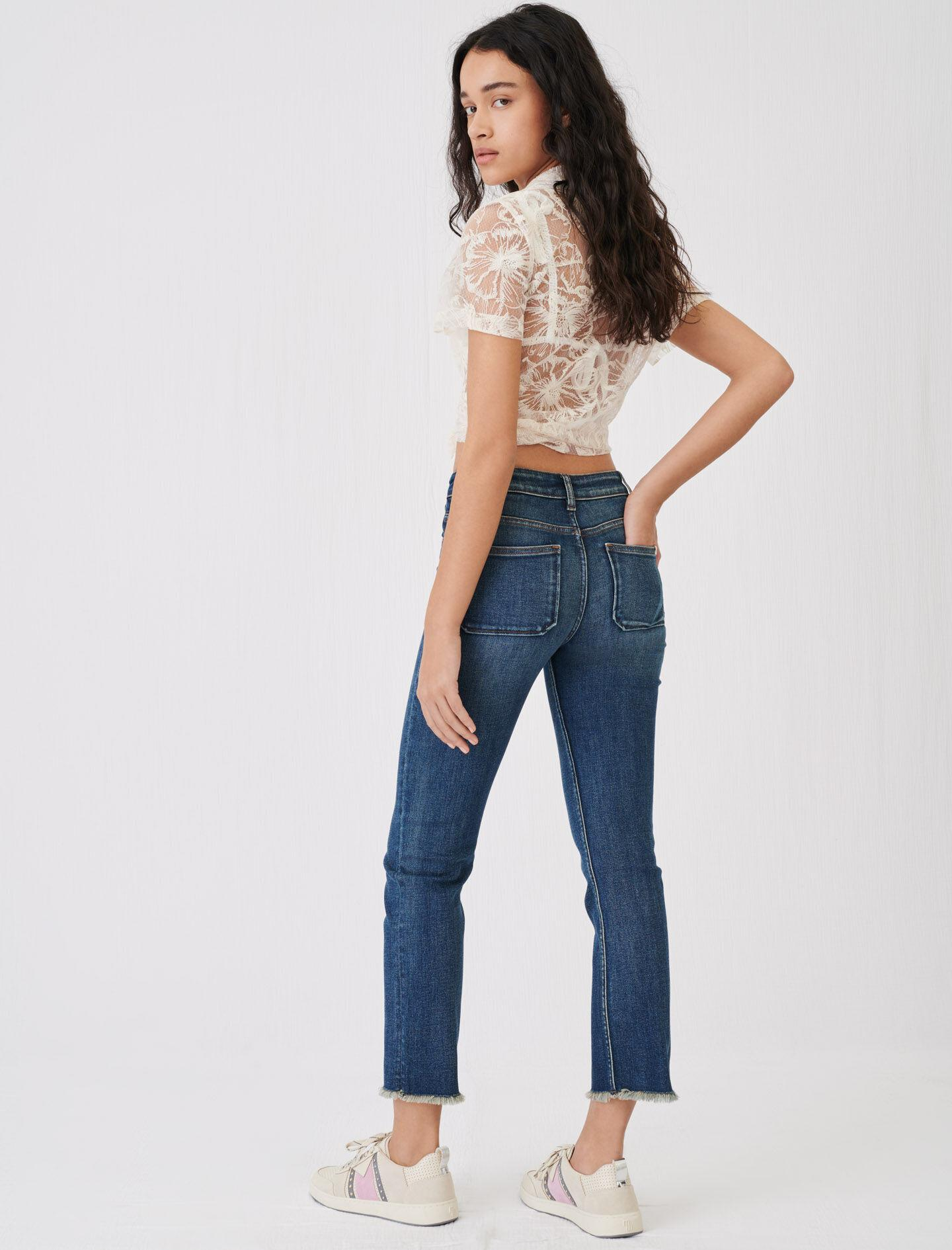 STRAIGHT CUT JEANS WITH FRINGING 1