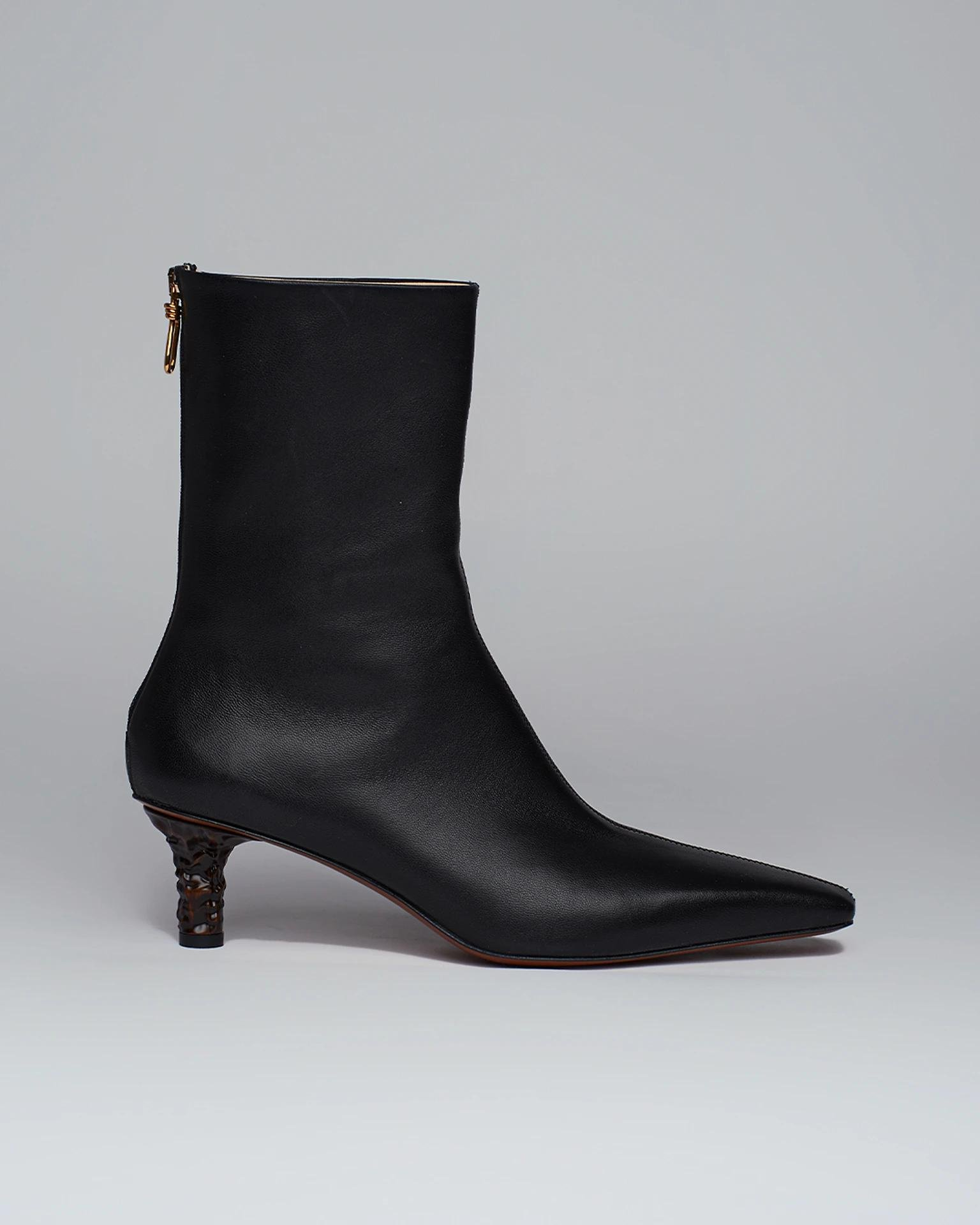 TALLI - Sculpted-heel leather boots - Black