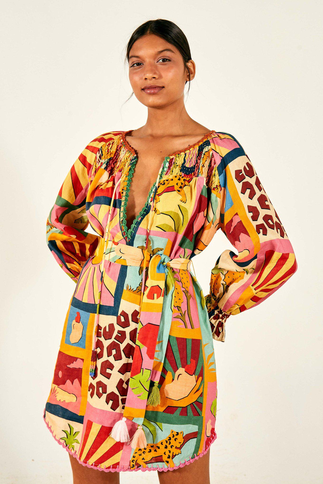 TROPICAL COLLAGE TUNIC DRESS