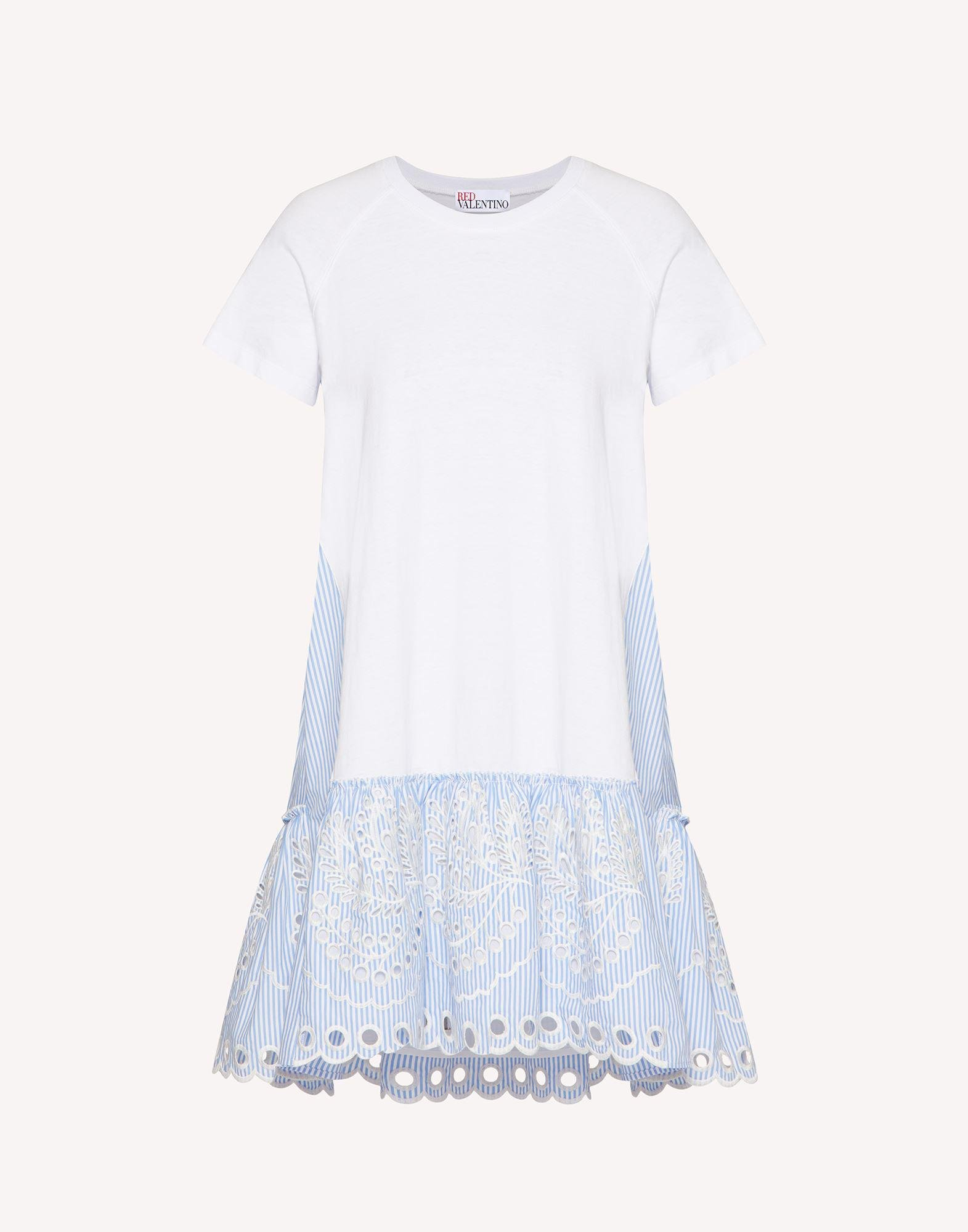 T-SHIRT DRESS WITH STRIPED COTTON POPLIN AND SANGALLO EMBROIDERY 4