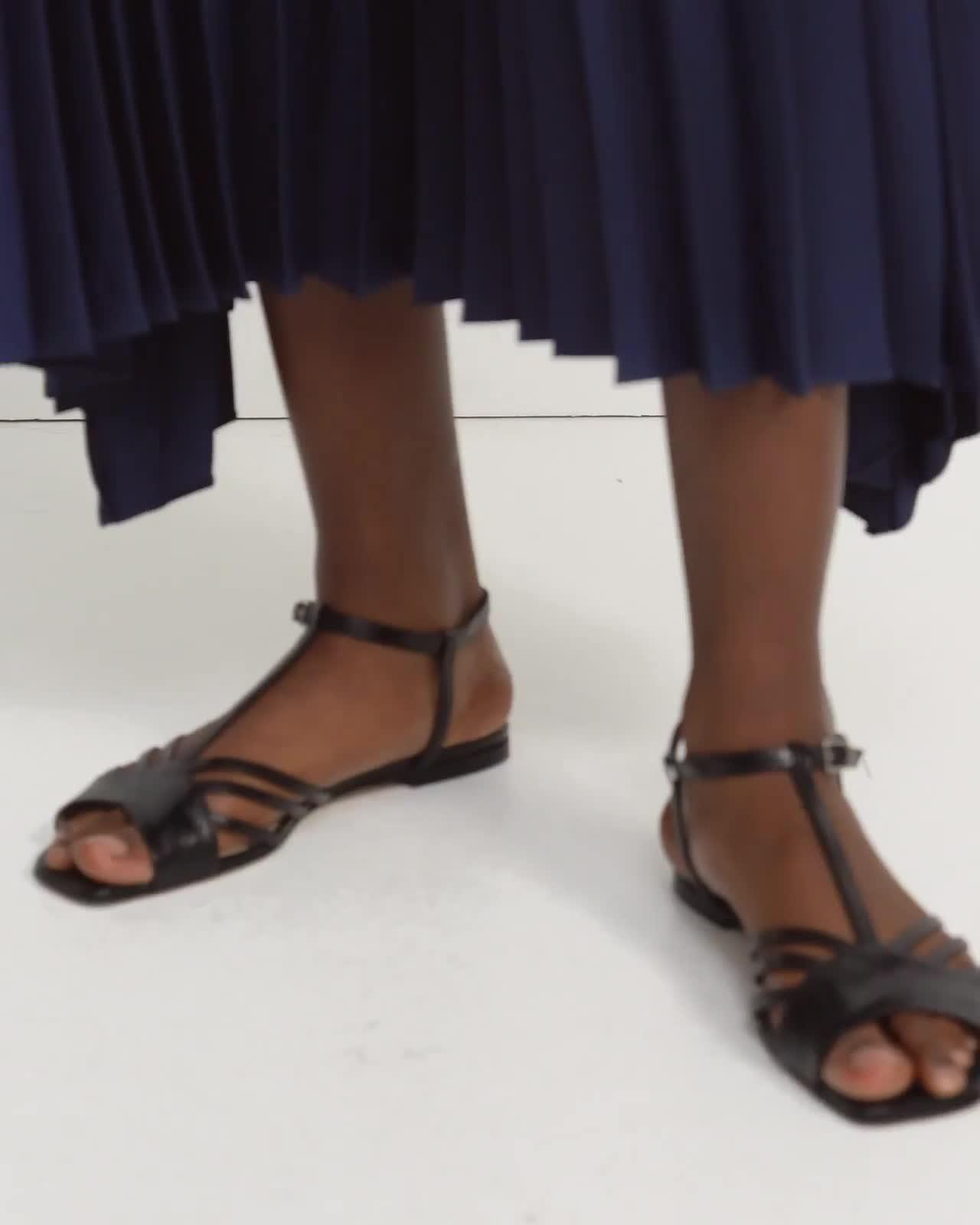 Pleated Skirt in Satin Crepe 4