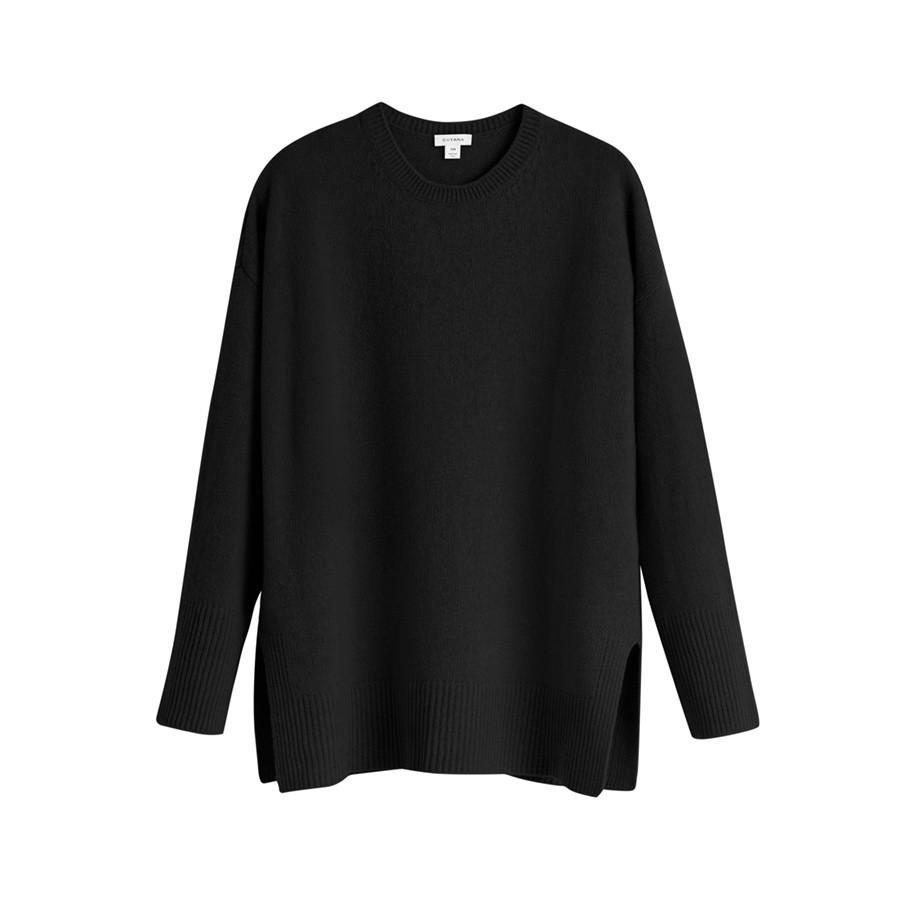 Women's Recycled Crewneck Sweater in Black | Size: