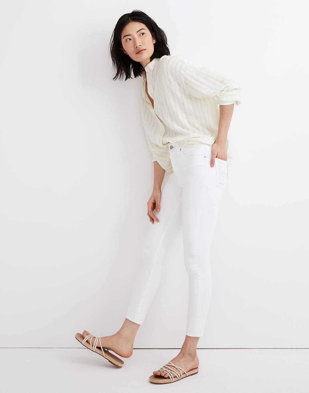 """9"""" Mid-Rise Skinny Crop Jeans in Pure White 1"""