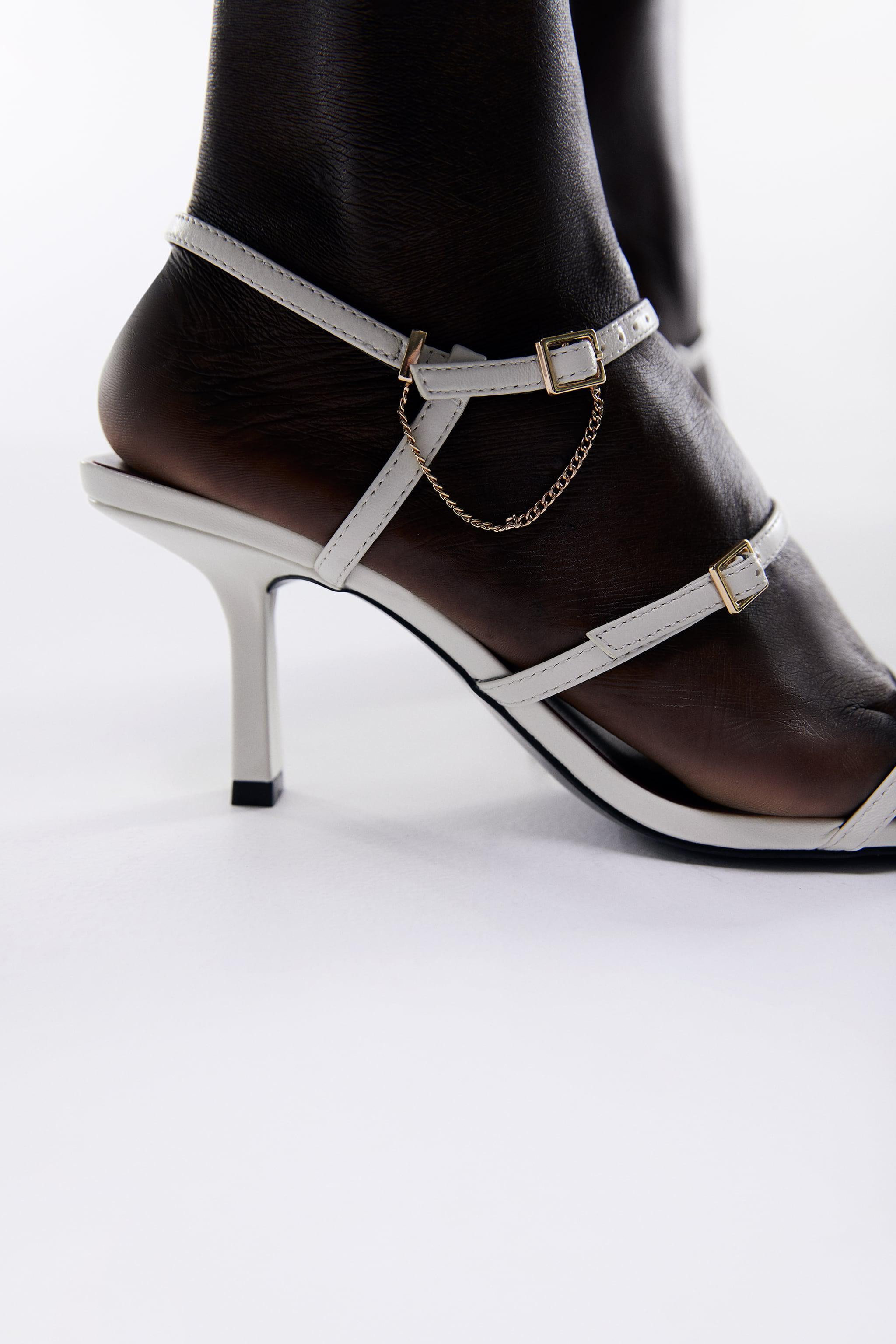 LEATHER HIGH HEEL STRAPPY SANDALS WITH BUCKLES 3