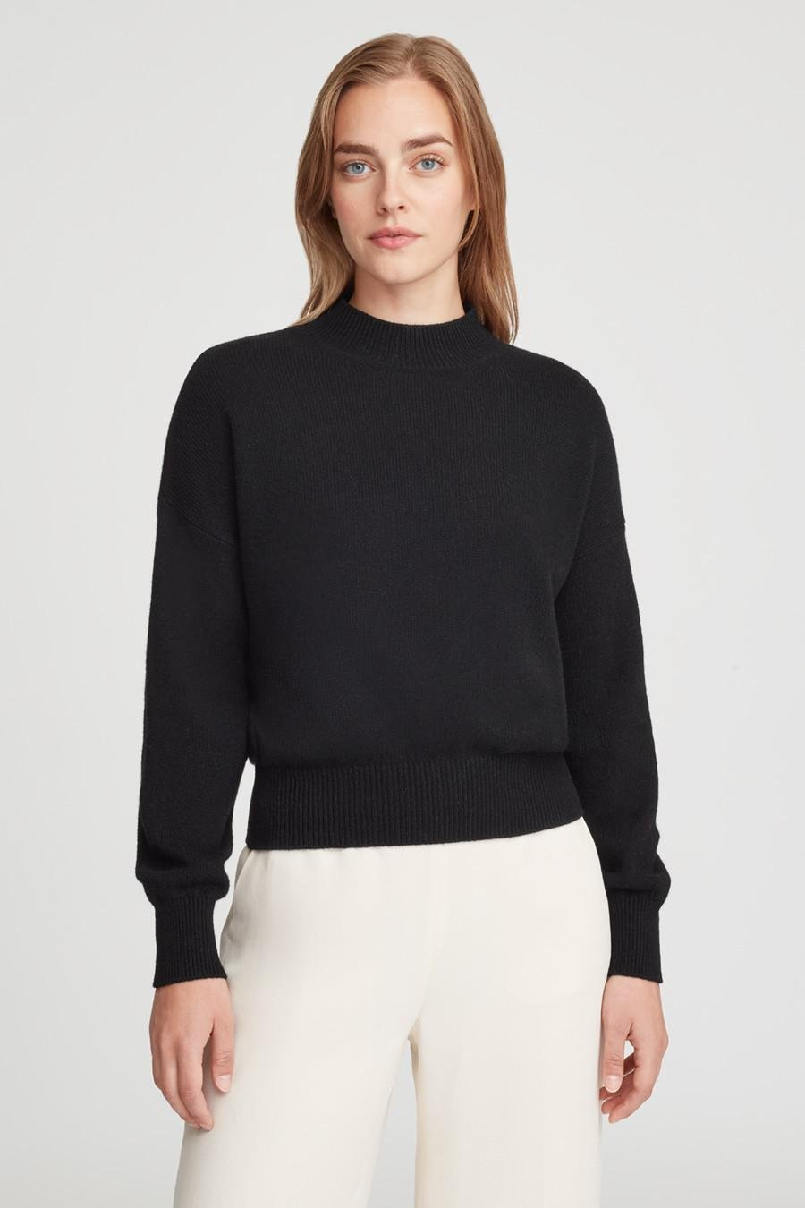 Women's Recycled Mock Neck Sweater in Black | Size: 1