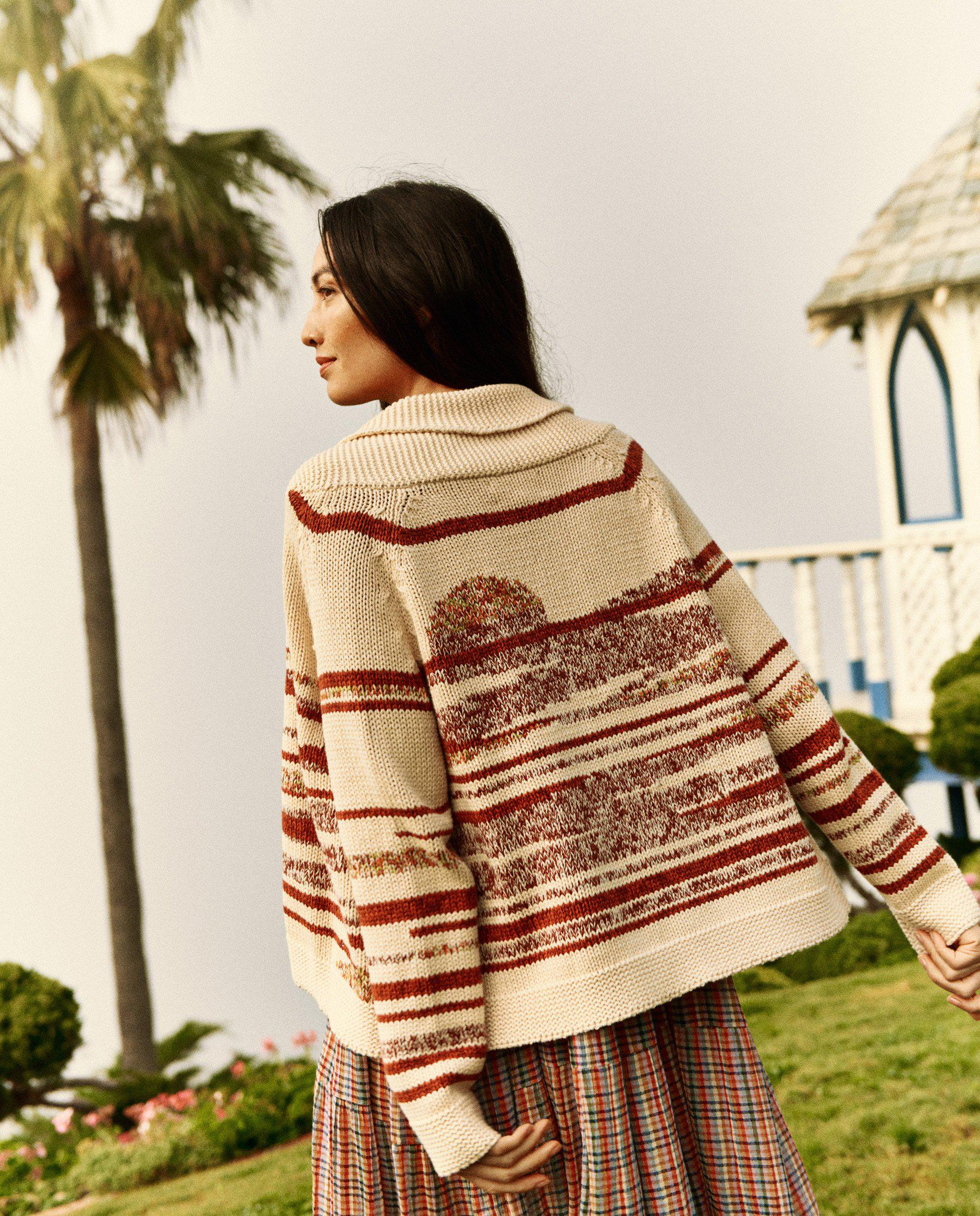 The Landscape Lodge Cardigan. -- Cream with Red Marl 1