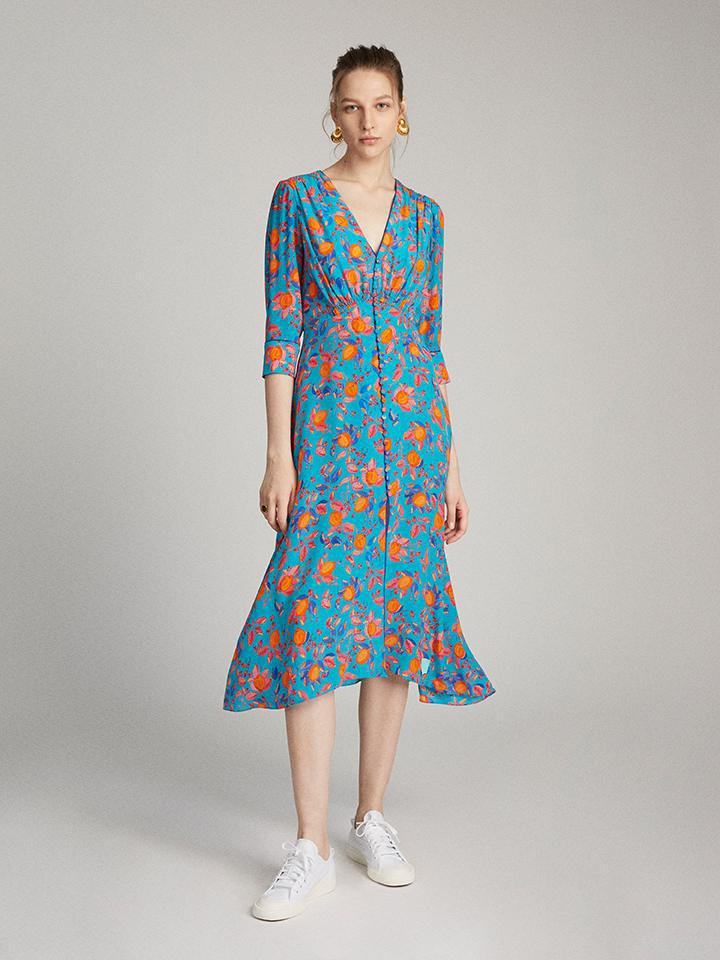 Eve Dress in Turquoise Limoncello print