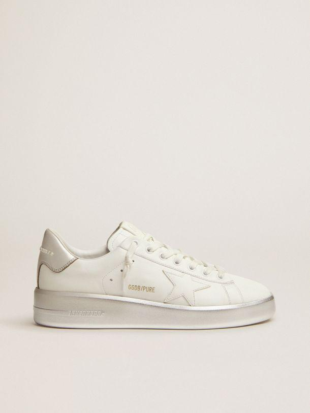 Purestar sneakers in white leather with silver laminated heel tab and foxing