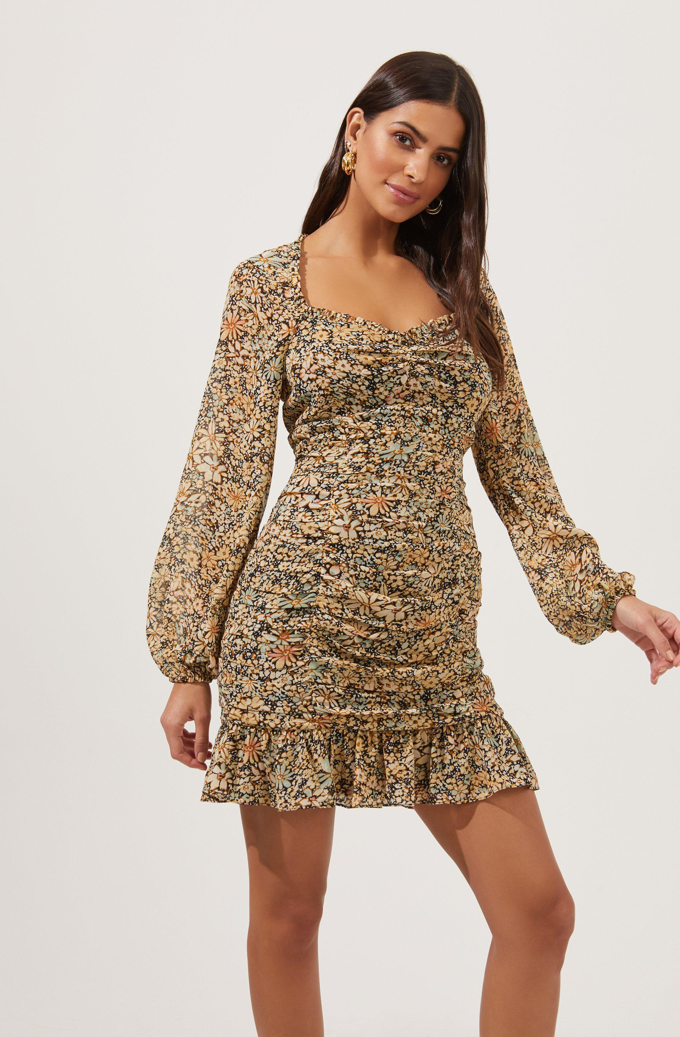 Marcella Ruched Floral Mini Dress