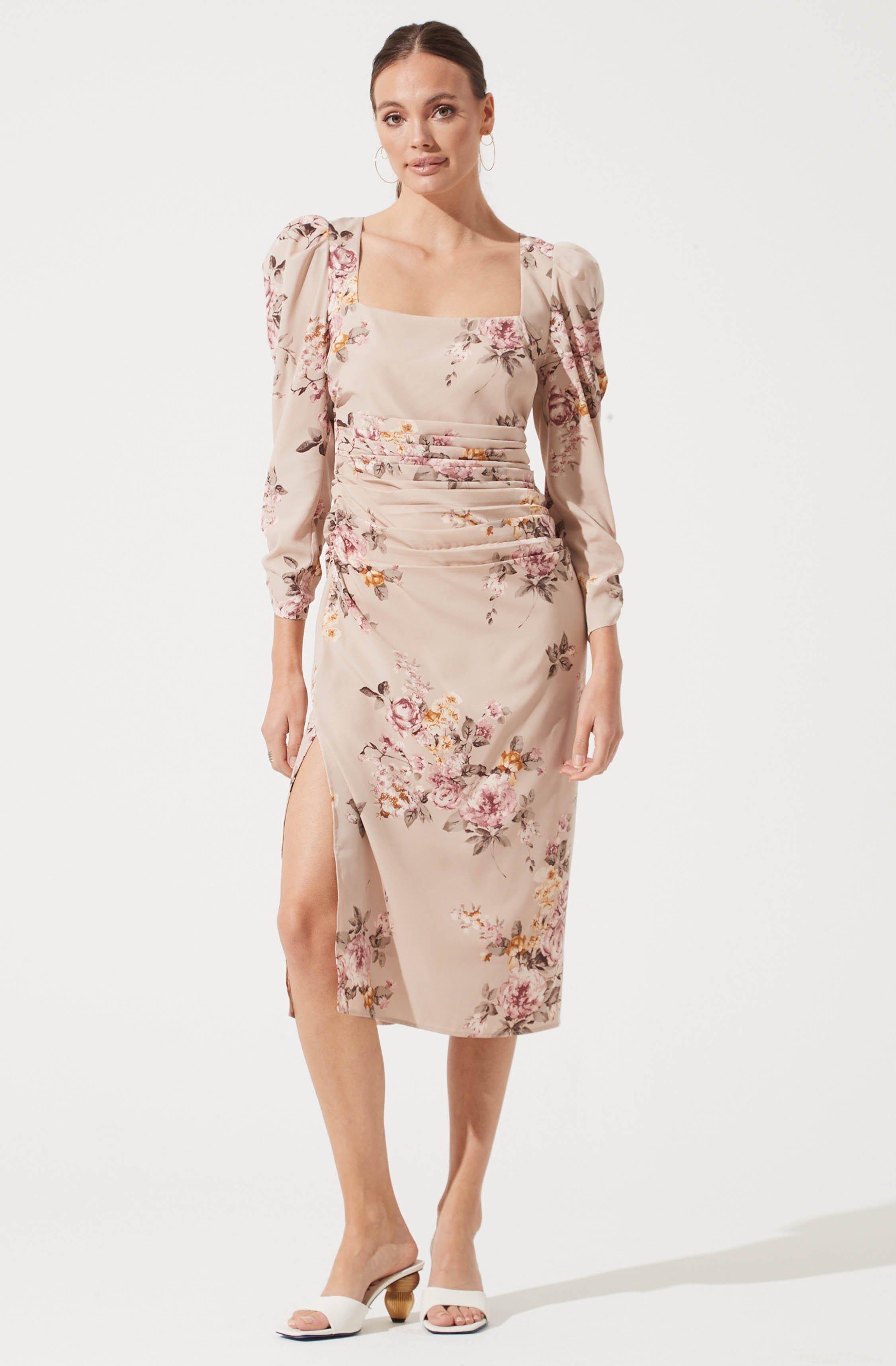 Long Sleeve Ruched Floral Midi