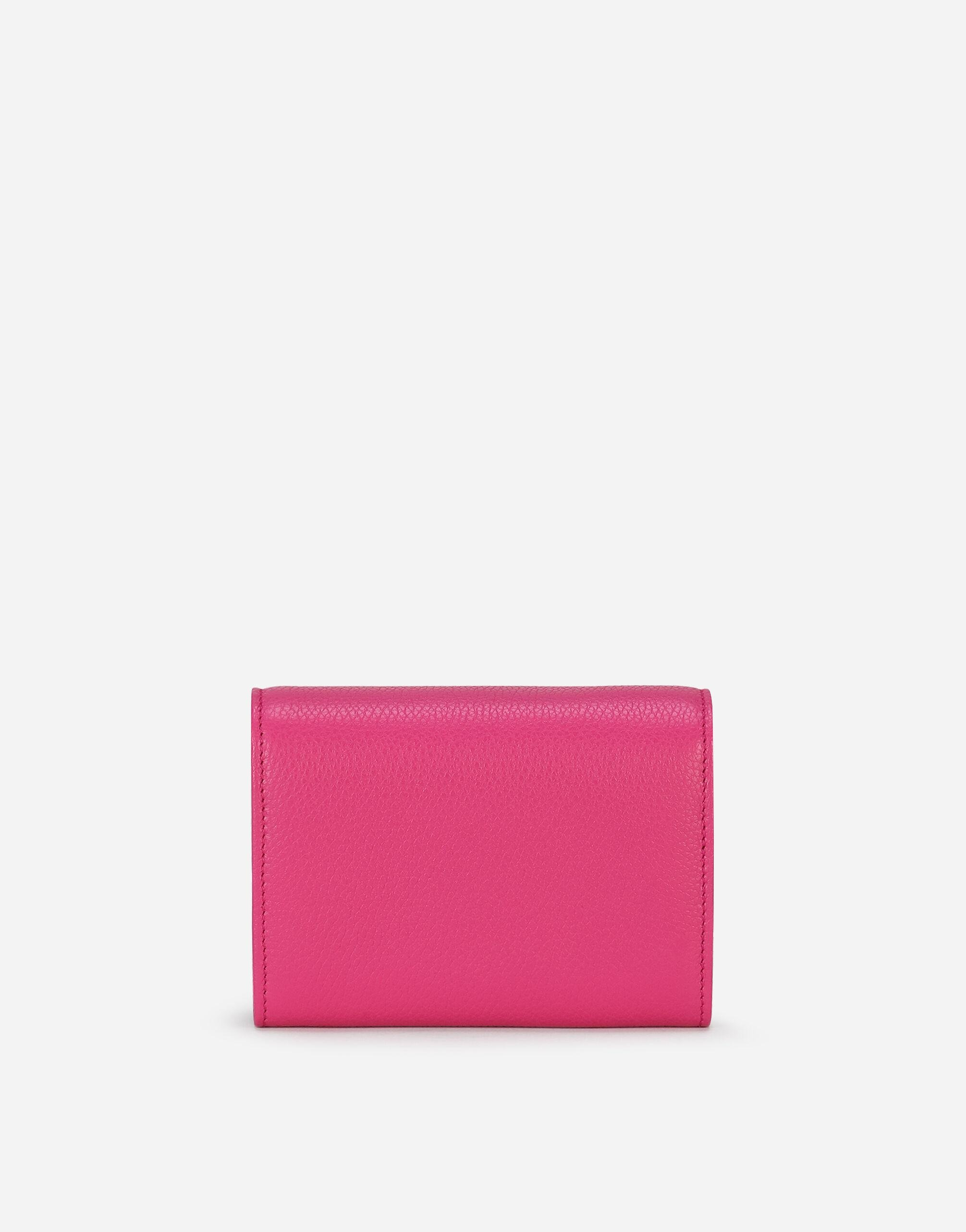 Tumbled calfskin wallet with chain detail 2