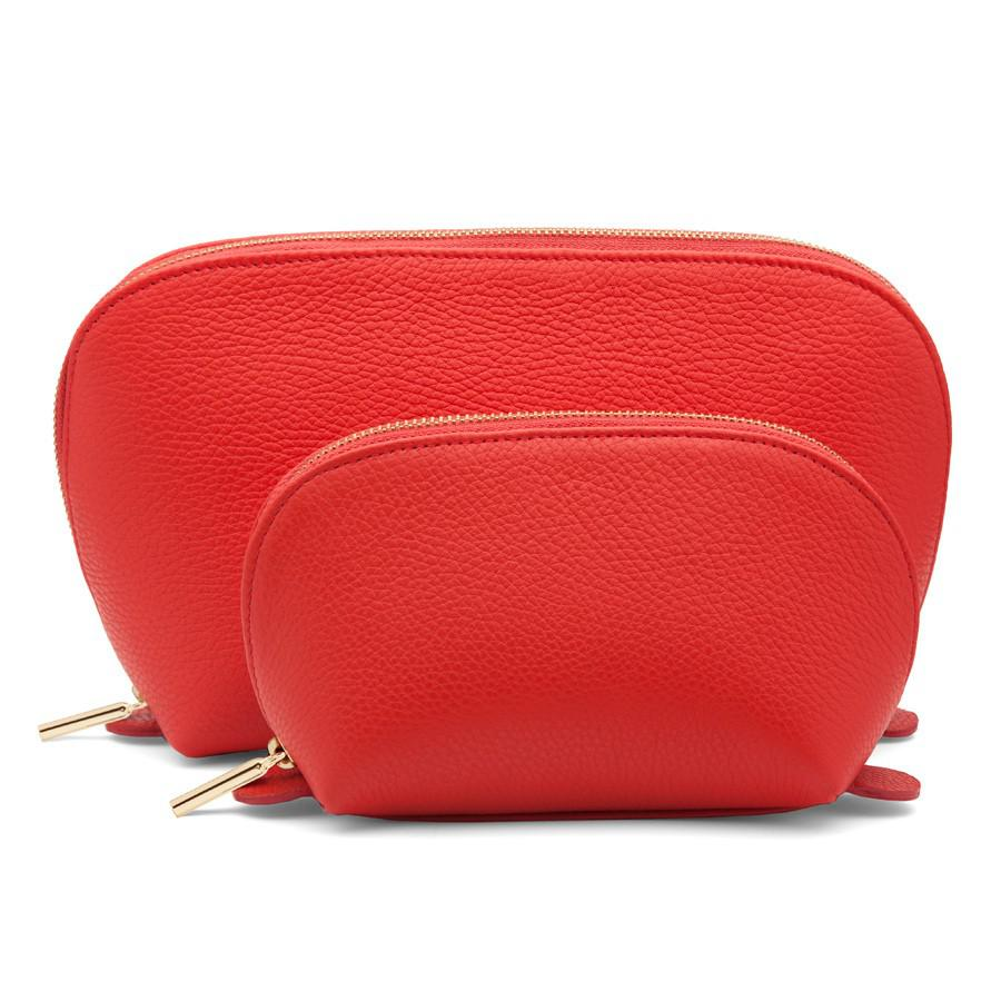 Women's Leather Travel Case Set in Red | Pebbled Leather by Cuyana