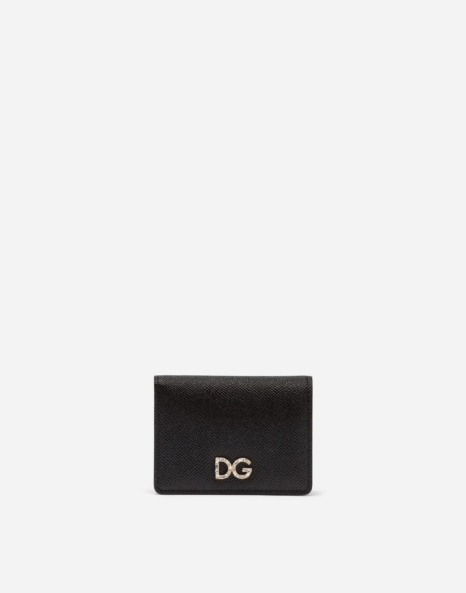 Card holder in laminate dauphine calfskin with logo crystals