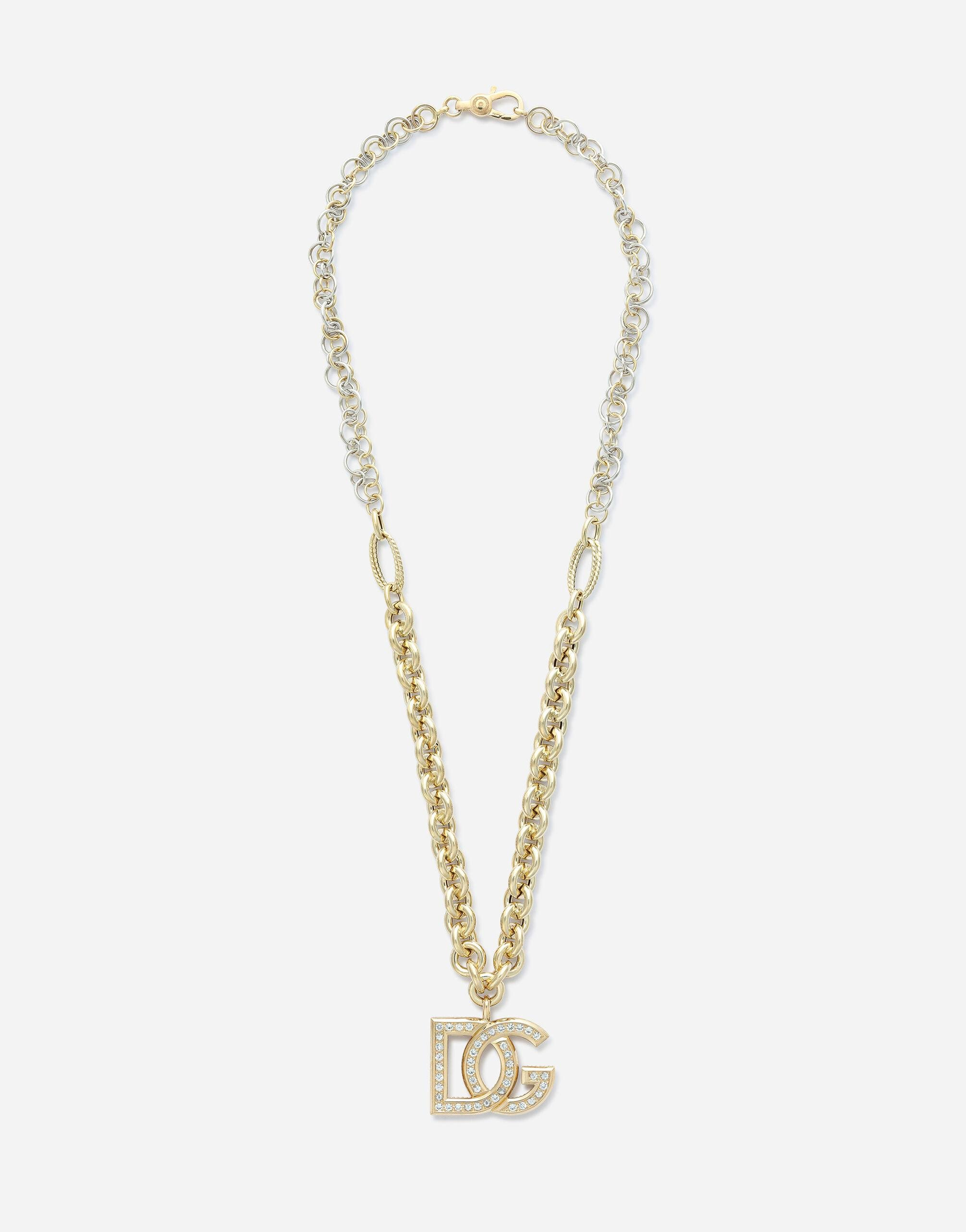 Logo necklace in yellow and white 18kt gold with colorless sapphires