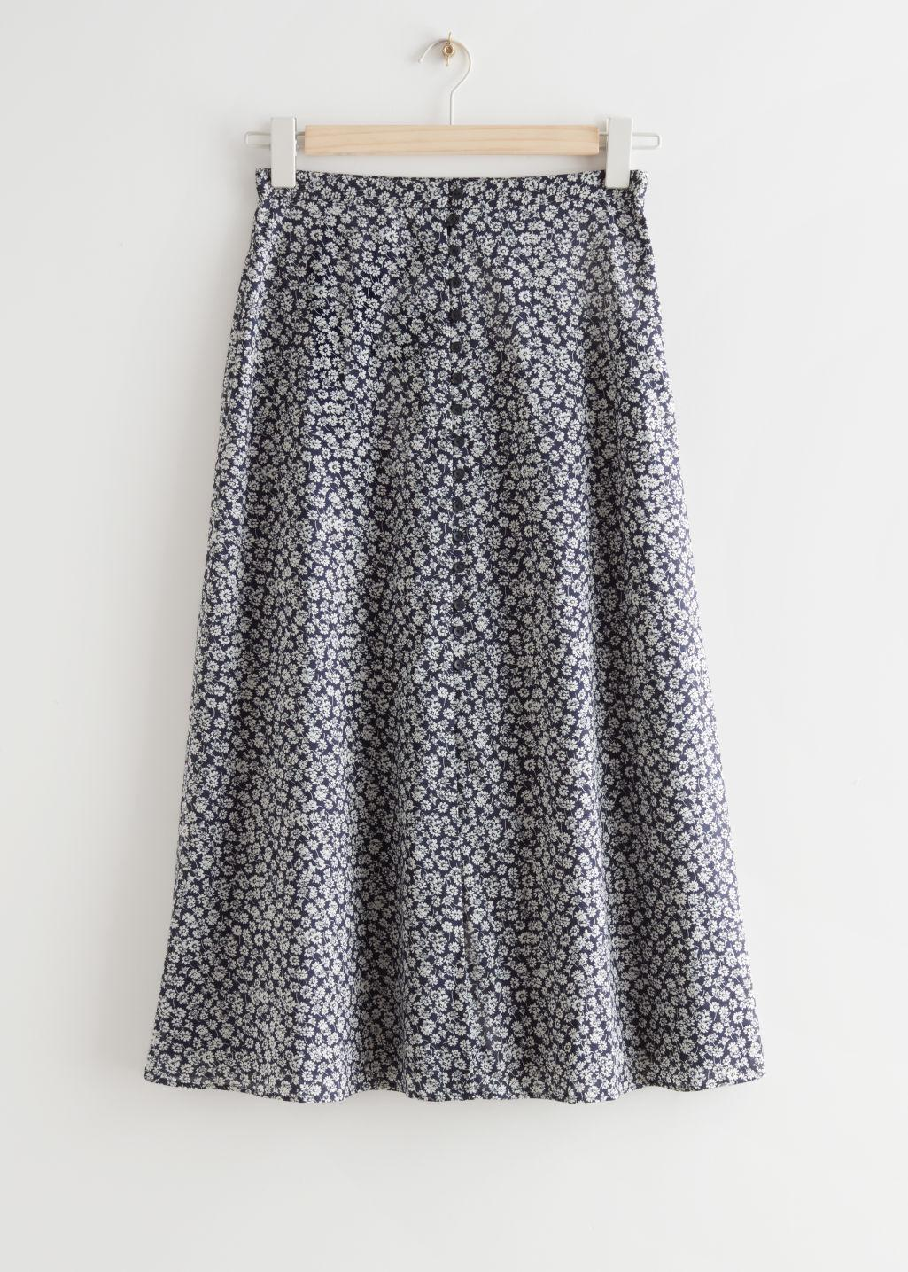 Printed Buttoned Midi Skirt