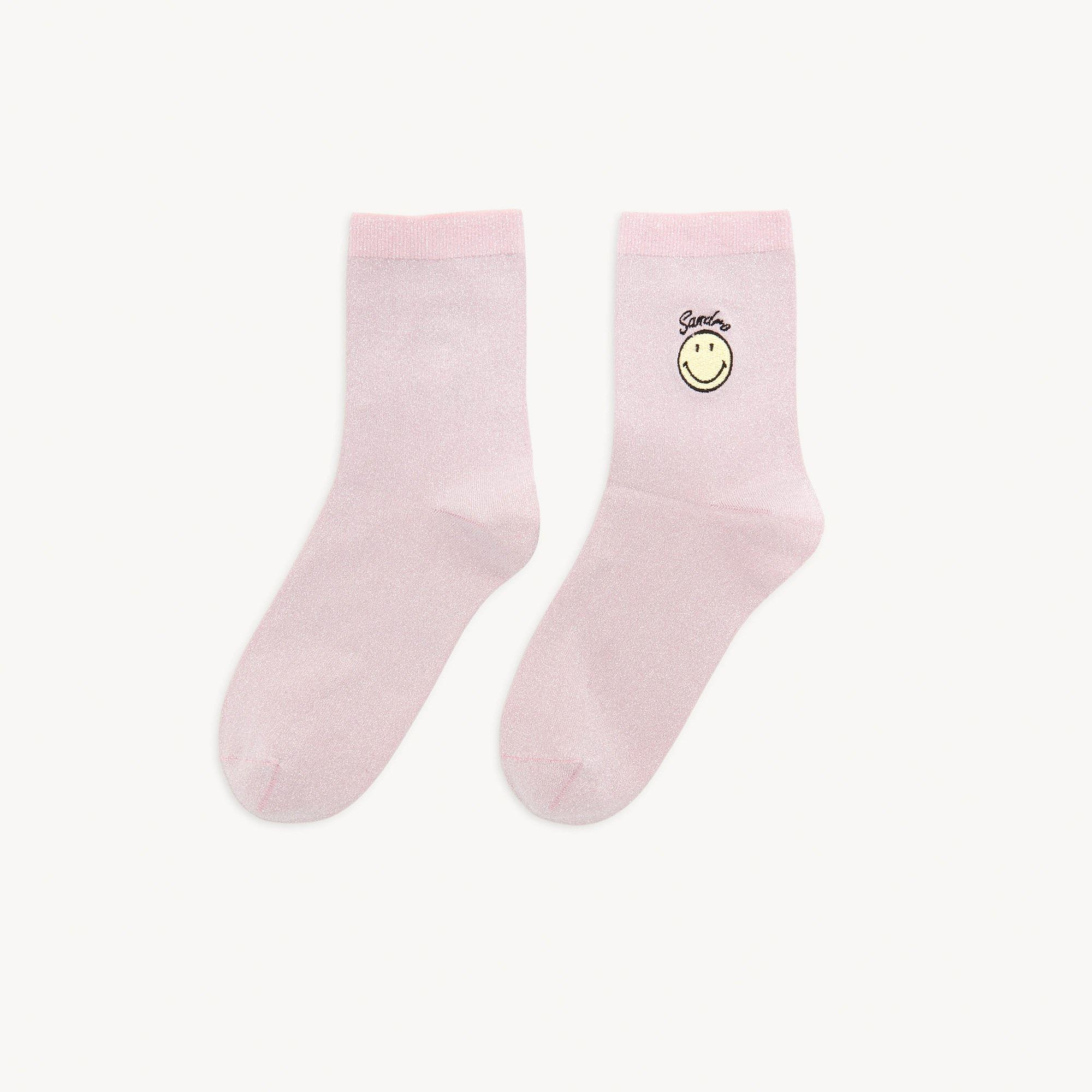 Smiley® Lurex socks with embroidery