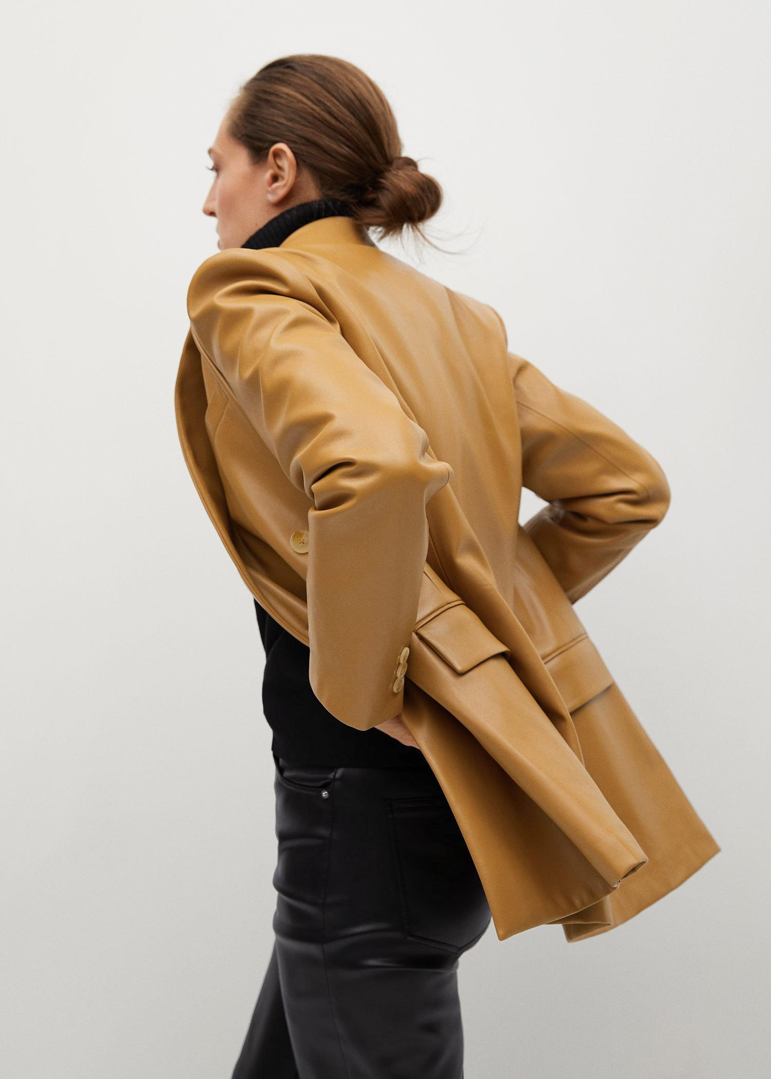 Faux-leather double-breasted blazer 4