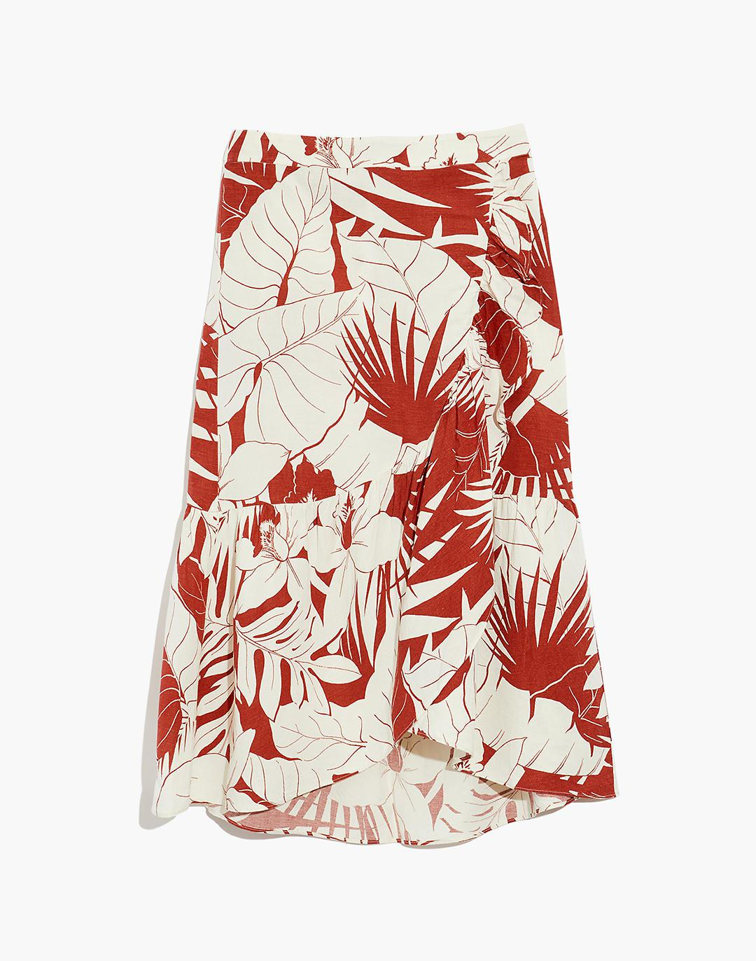 Linen-Blend Ruffle-Wrap Midi Skirt in Tropical Vacation 3