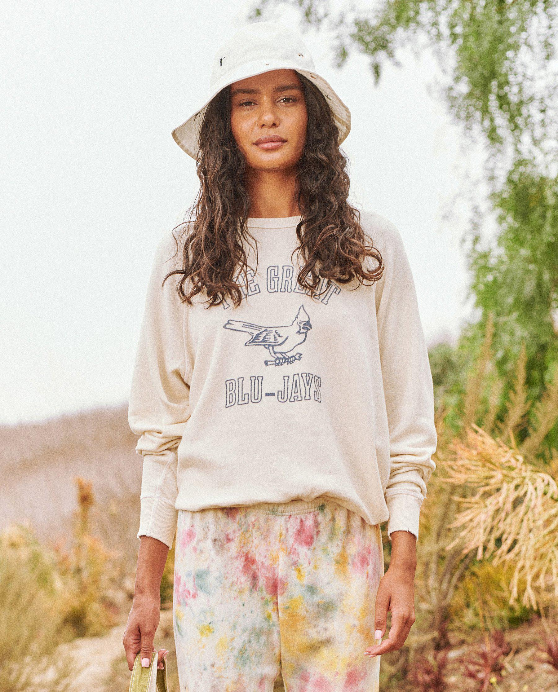 The College Sweatshirt. Graphic -- Washed White with Blue Jay Graphic