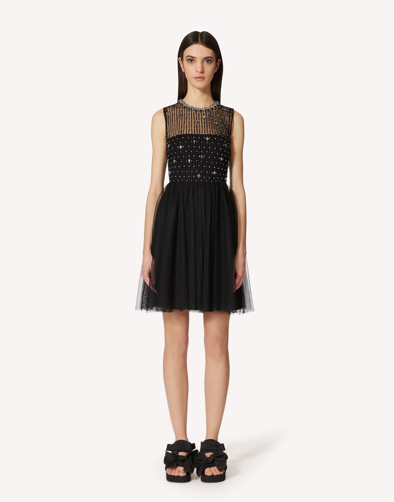 POINT D'ESPRIT TULLE DRESS WITH RHINESTONE EMBROIDERY