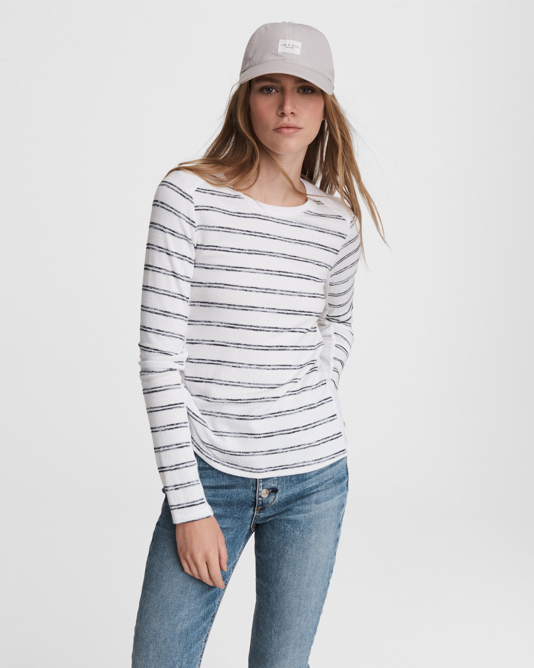 The knit summer striped long sleeve