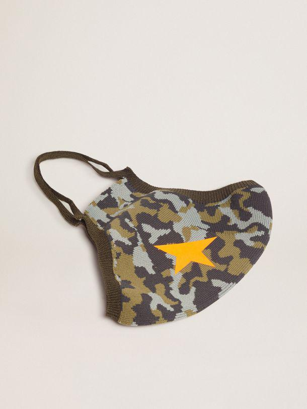 Camouflage Golden face mask with orange star