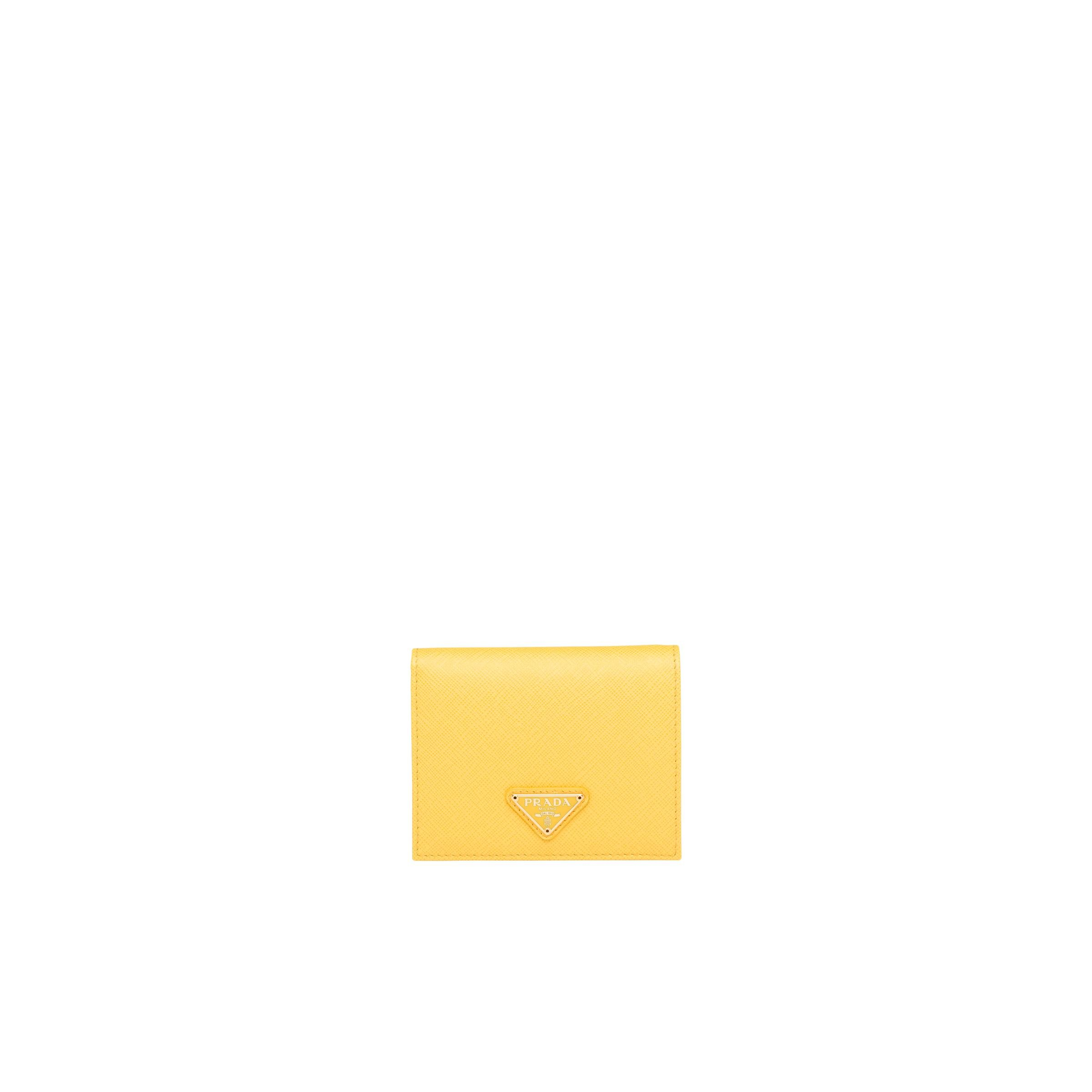 Small Saffiano Leather Wallet Women Sunny Yellow