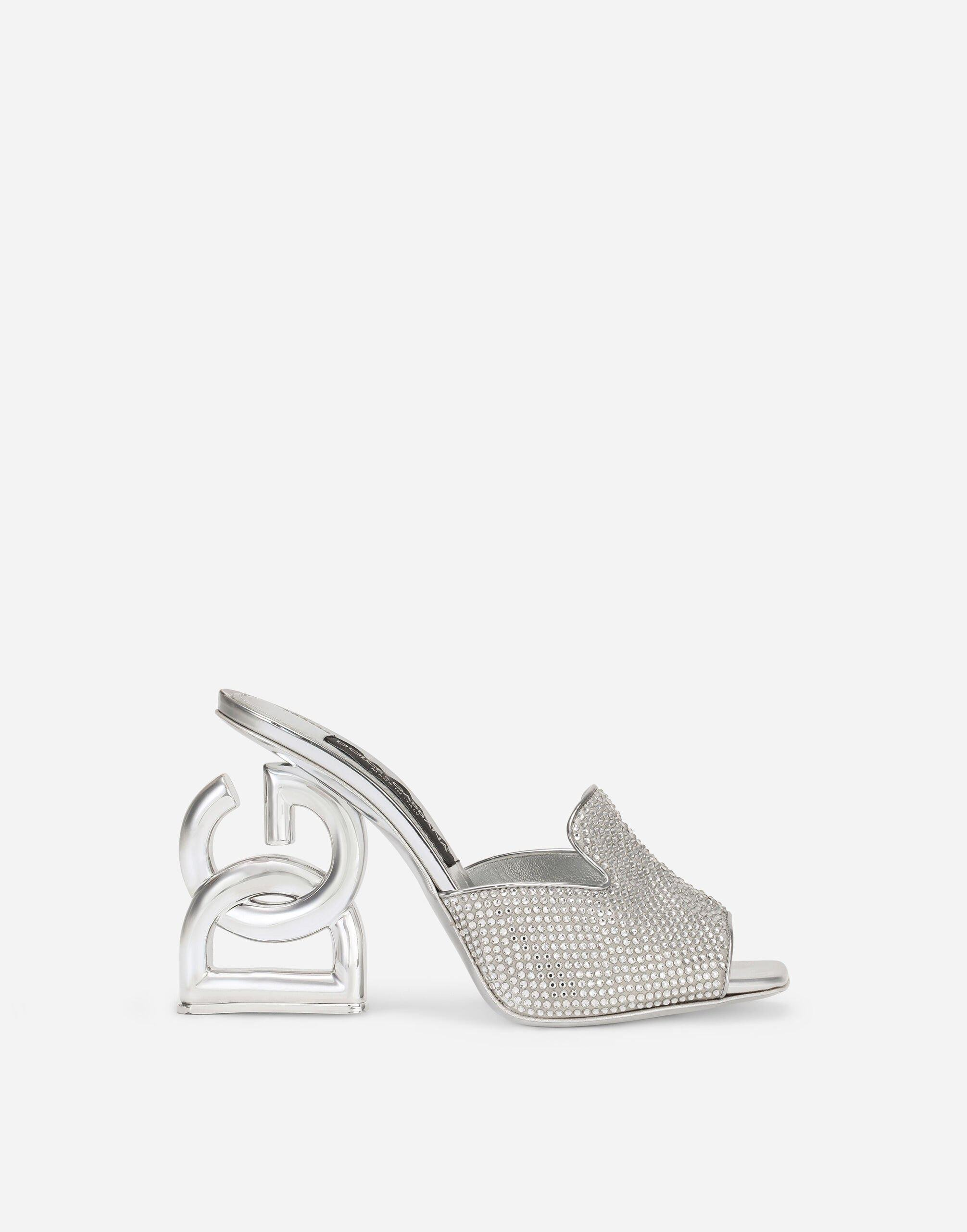 Mules with fusible rhinestone detailing and DG Pop heel