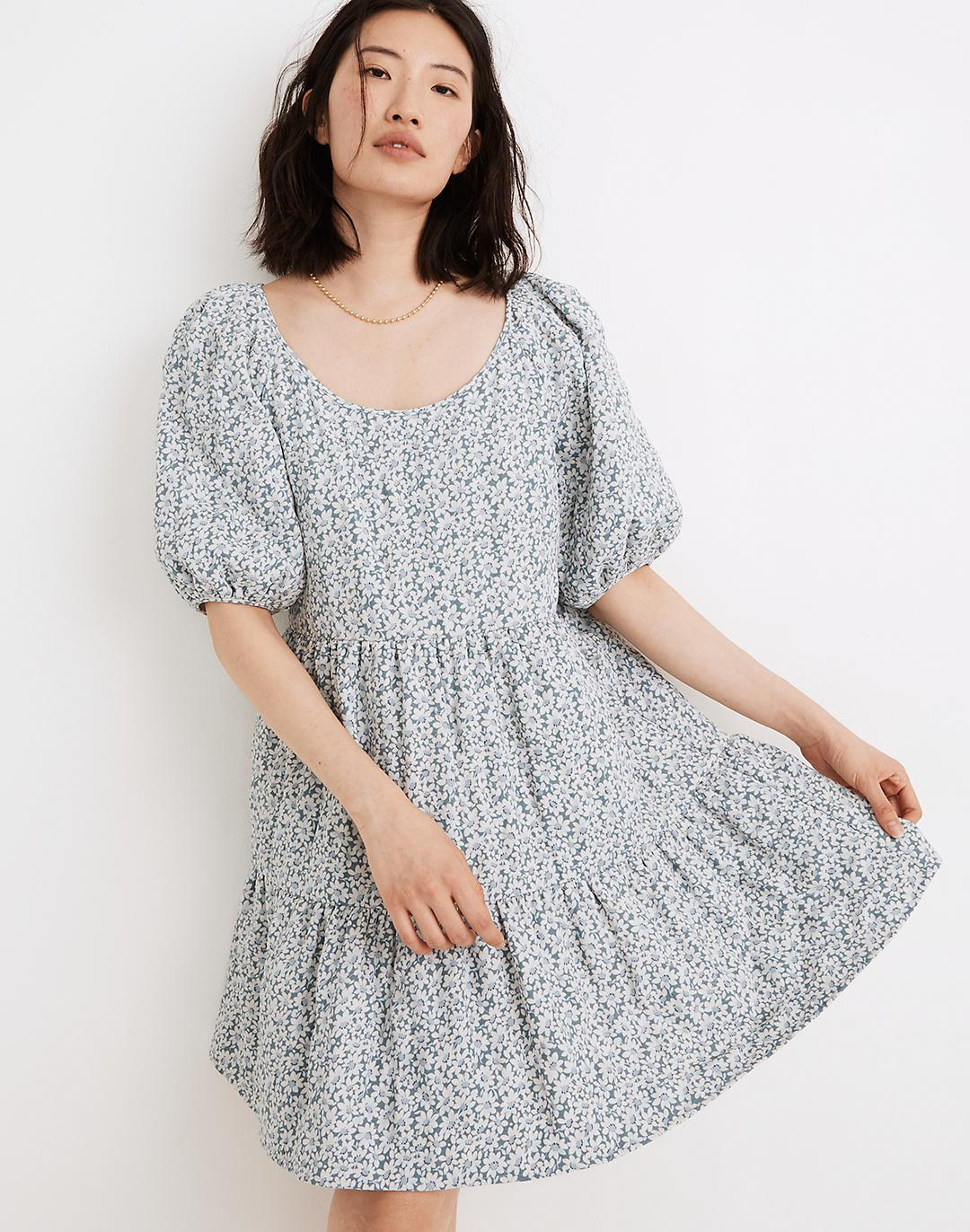 Quilted Puff-Sleeve Mini Dress in Sunflower Field