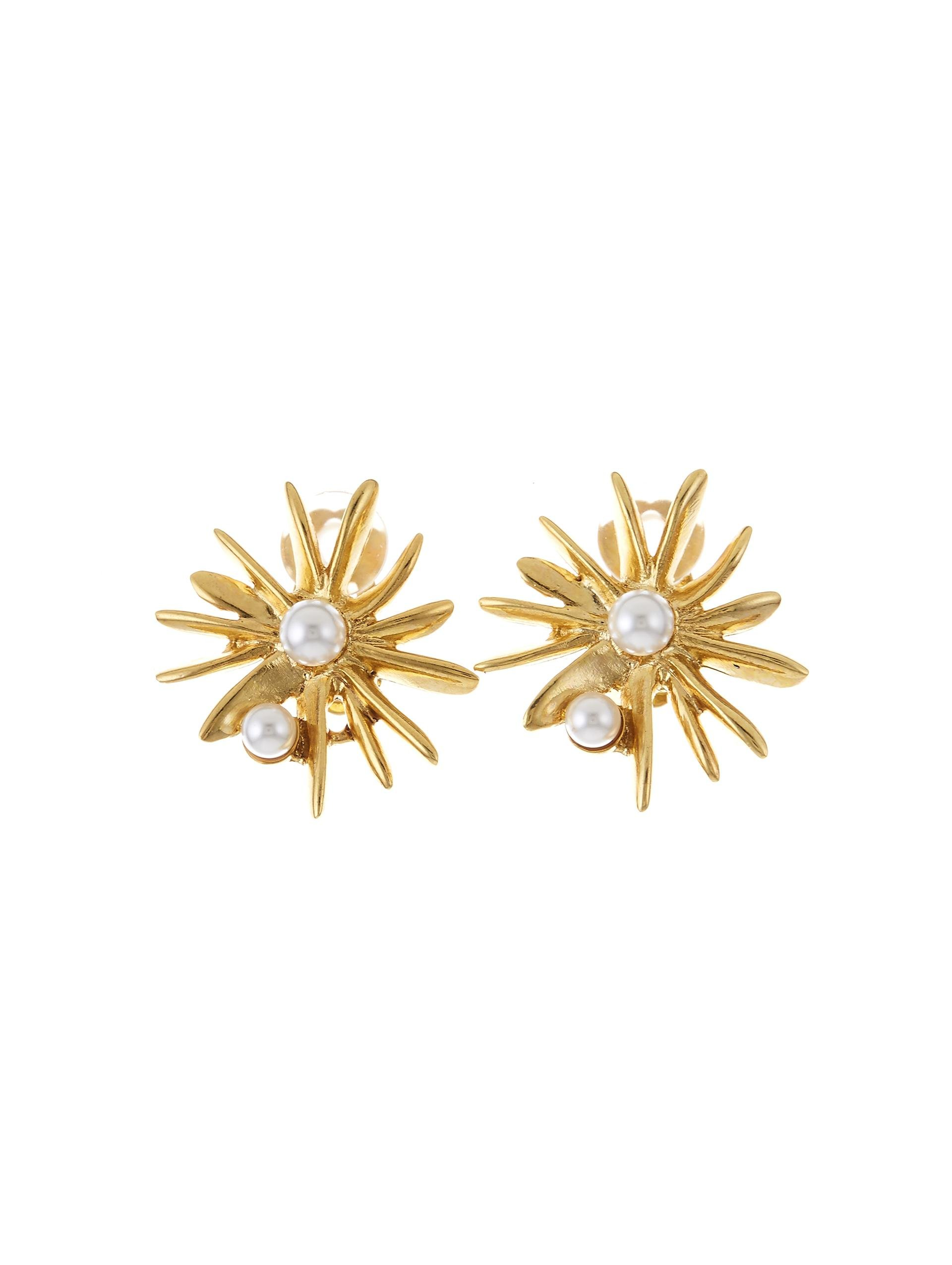 CLASSIC PEARL STARBURST BUTTON C EARRING