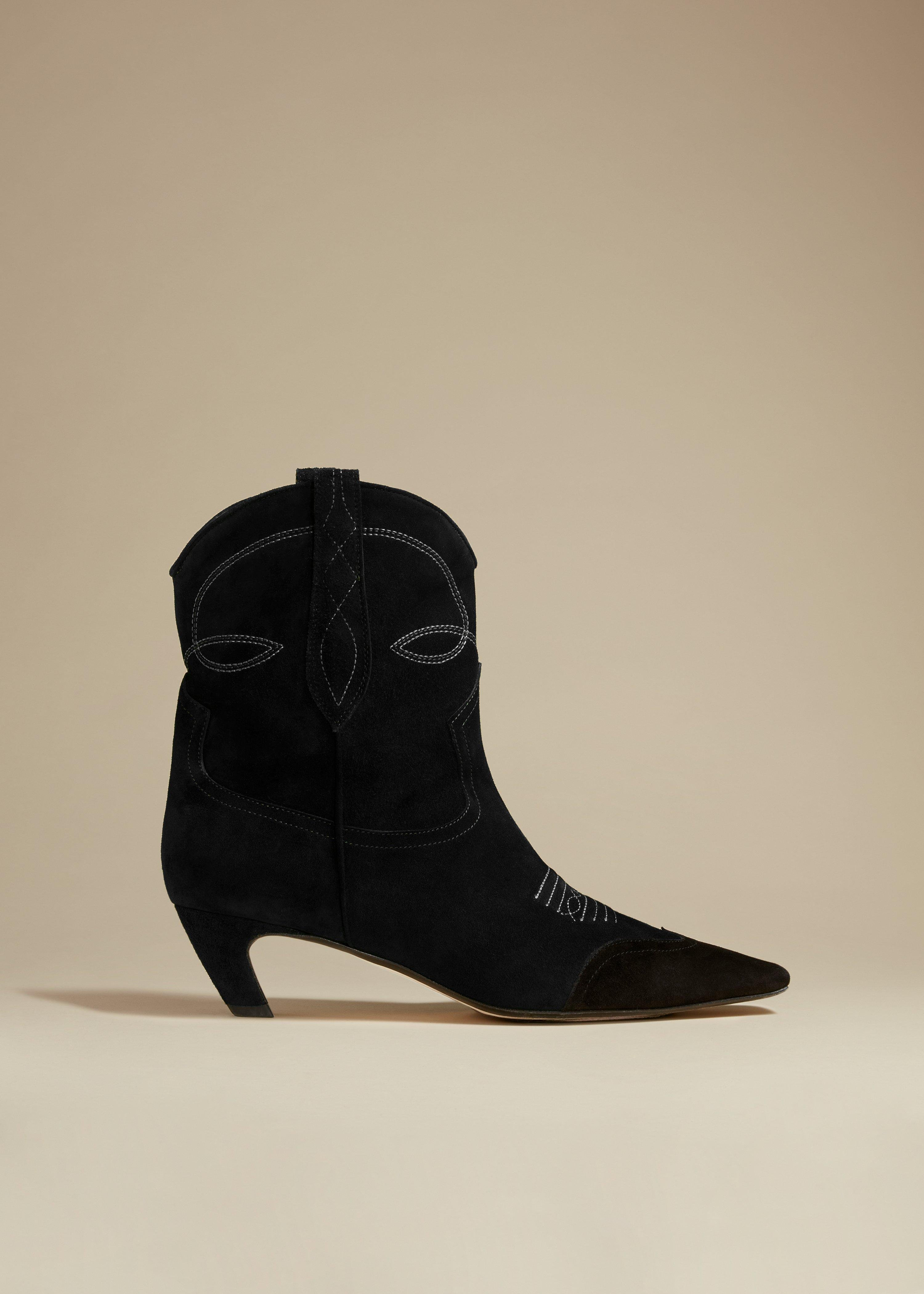 The Dallas Ankle Boot in Black Suede
