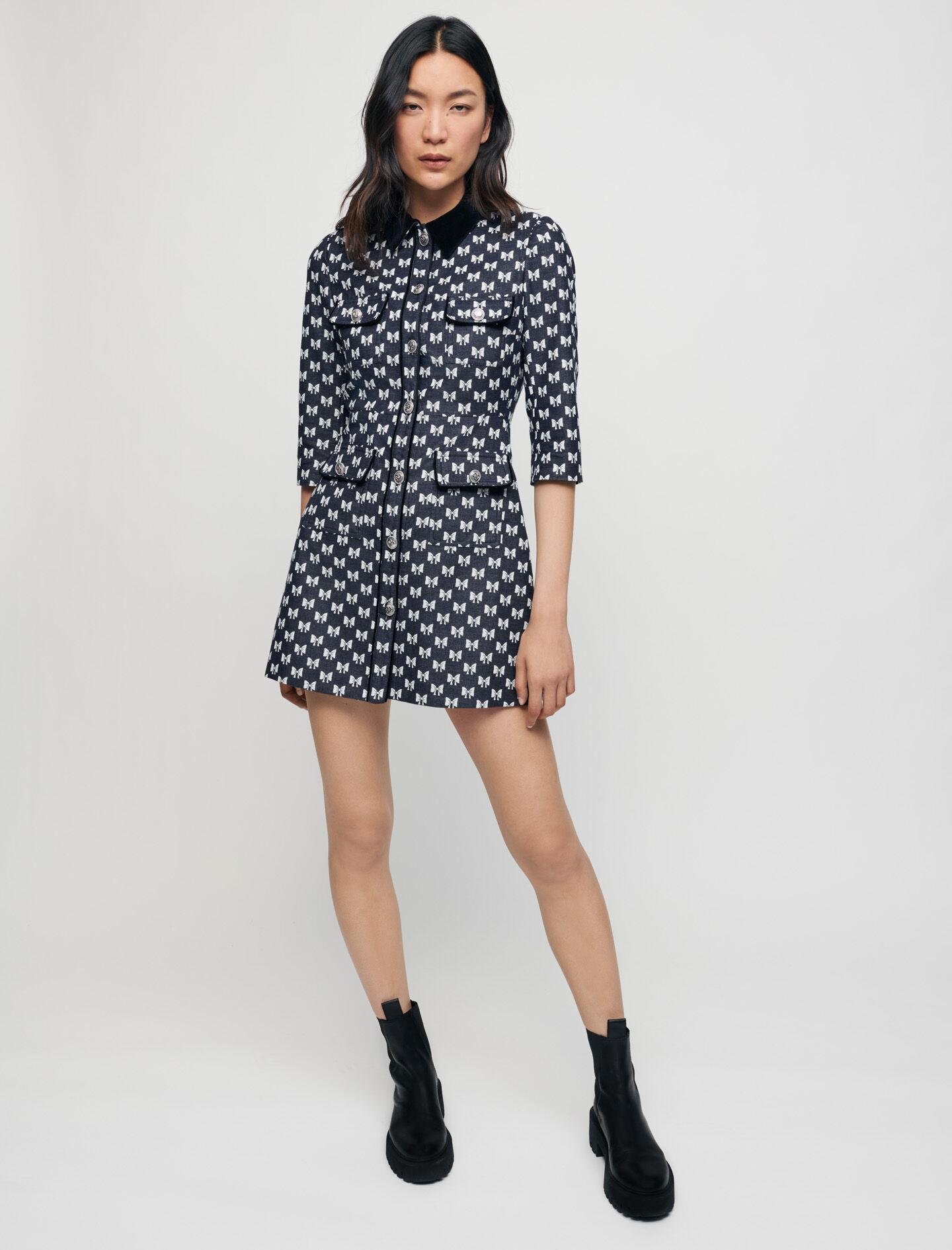 JACQUARD DRESS WITH BOW PATTERN