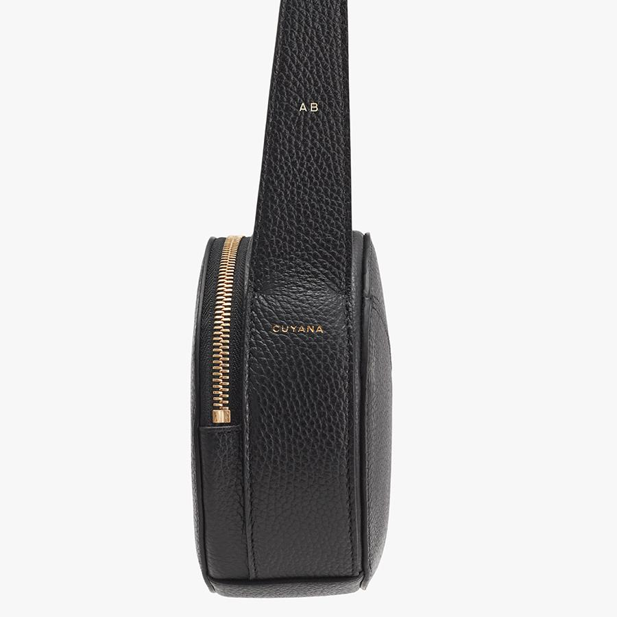 Women's Top Handle Crossbody Bag in Black   Pebbled Leather by Cuyana 6