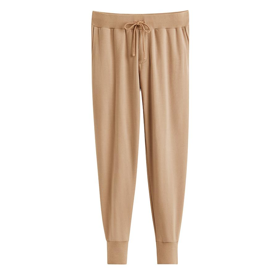 Women's French Terry Tapered Lounge Pant in Camel | Size: