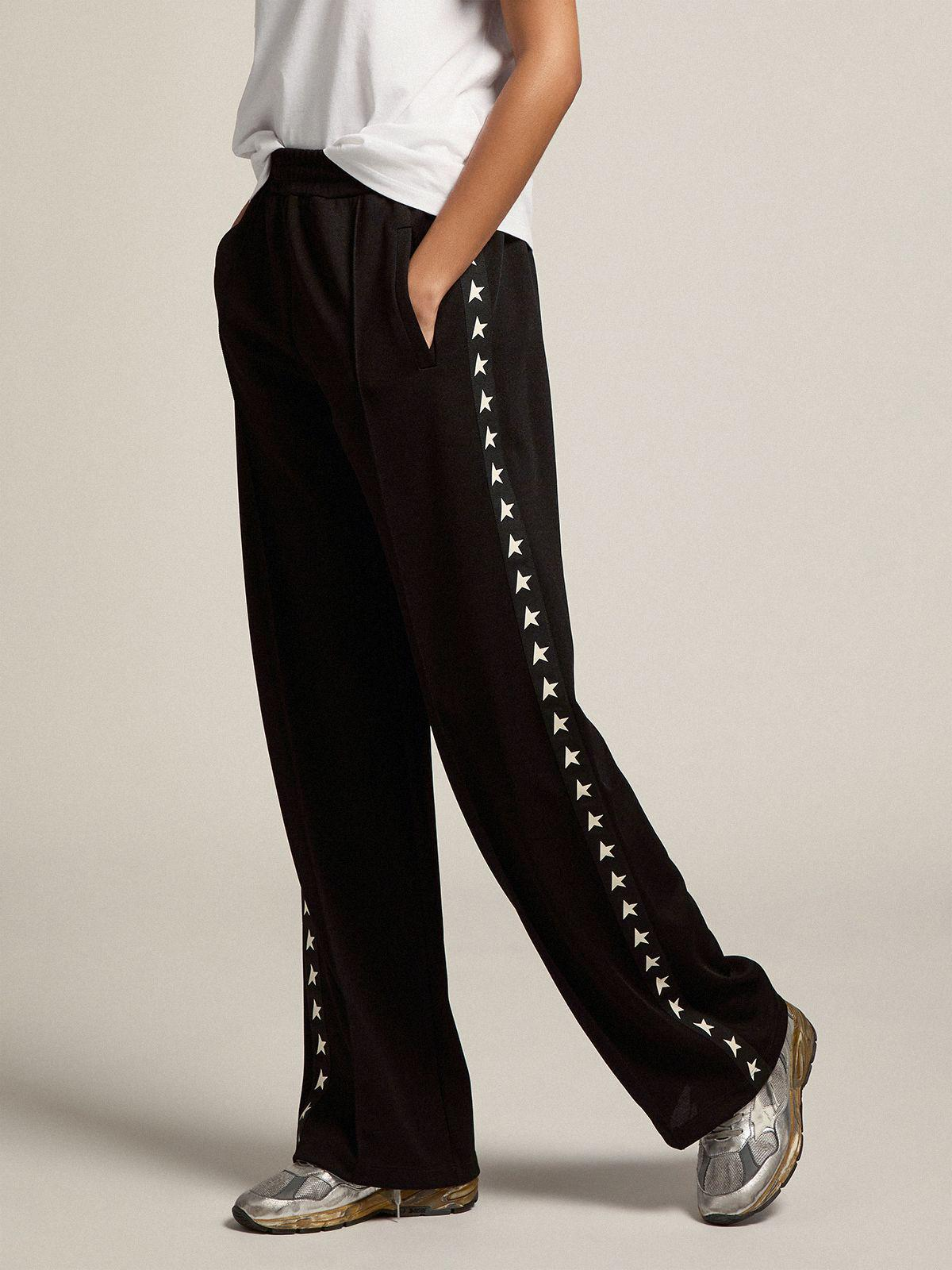 Black Dorotea Star Collection jogging pants with white stars on the sides 0