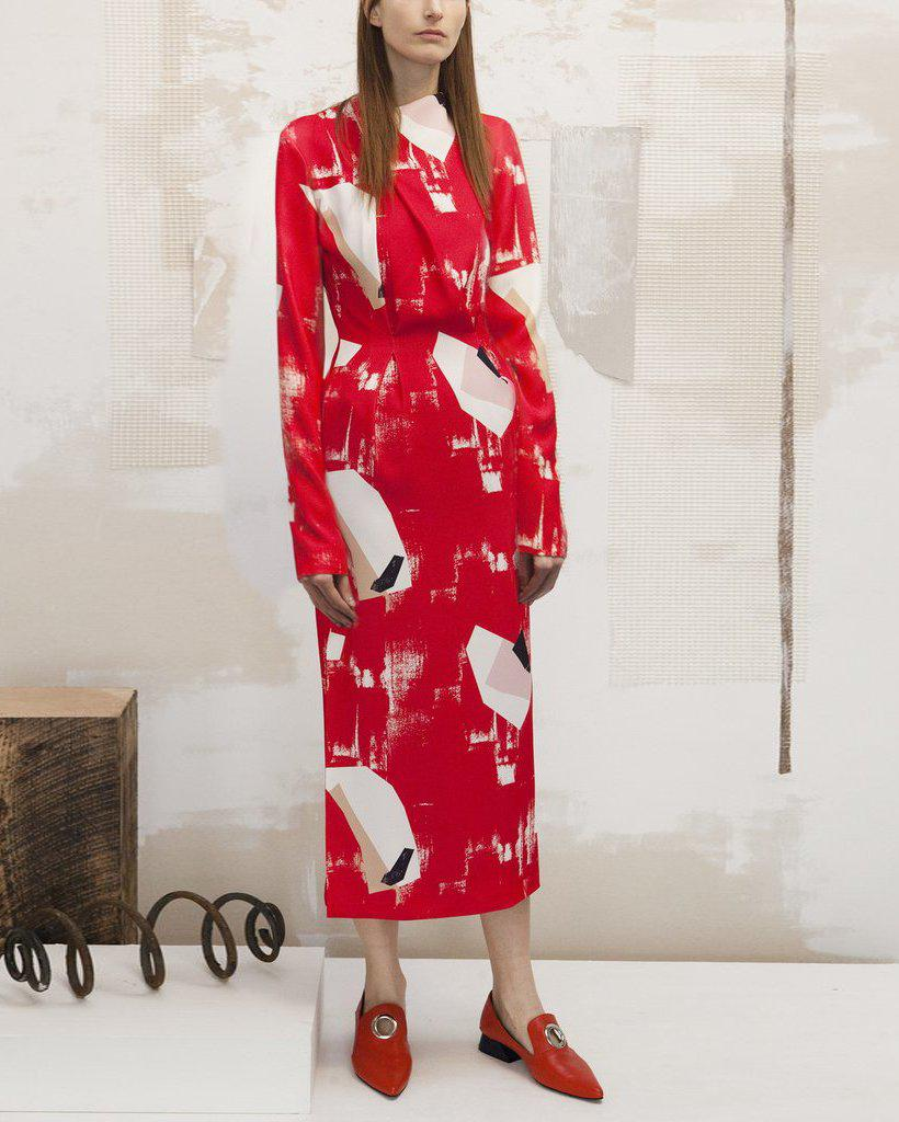Sienna Dress Crepe Red Abstract Print - SPECIAL PRICE