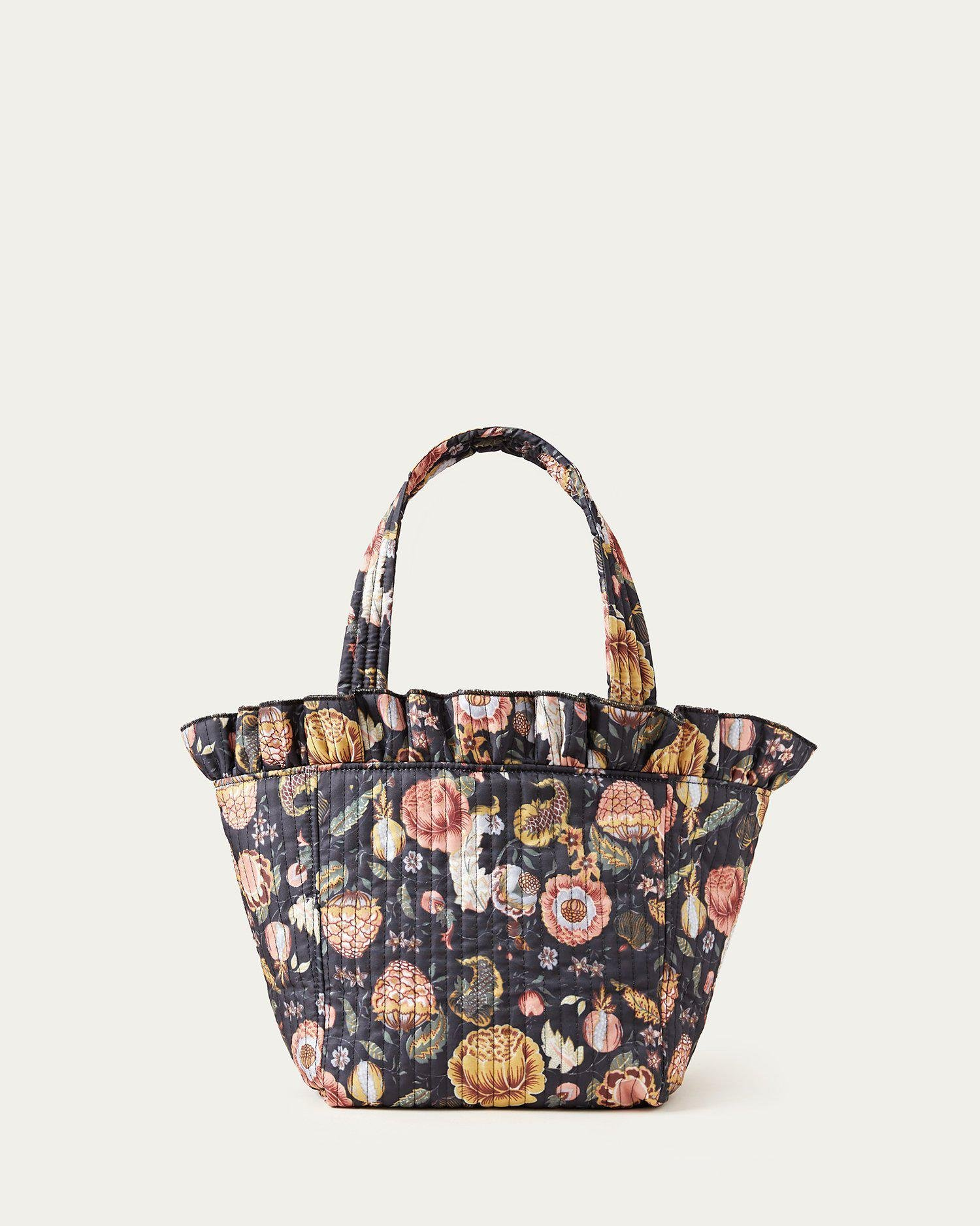 Claire Antique Floral Ruffle Tote