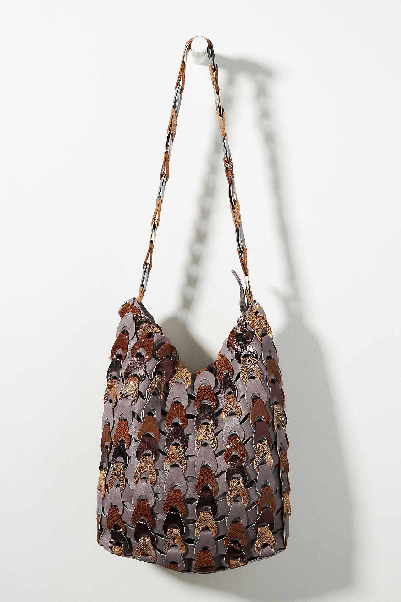 Woven Leather Slouchy Shoulder Bag