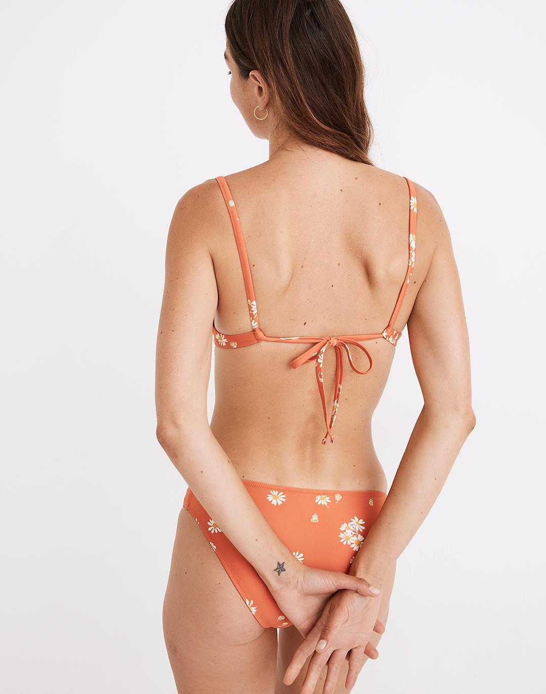 Madewell Second Wave Tie-Back Bikini Top in Lazy Daisies 2