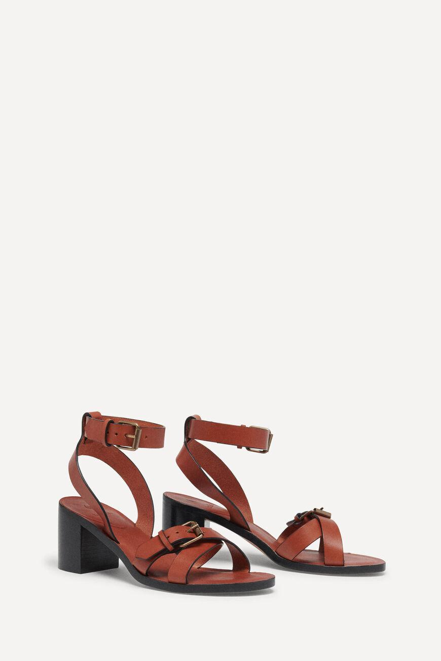 cathalya.LEATHER SANDALS WITH HEEL 2