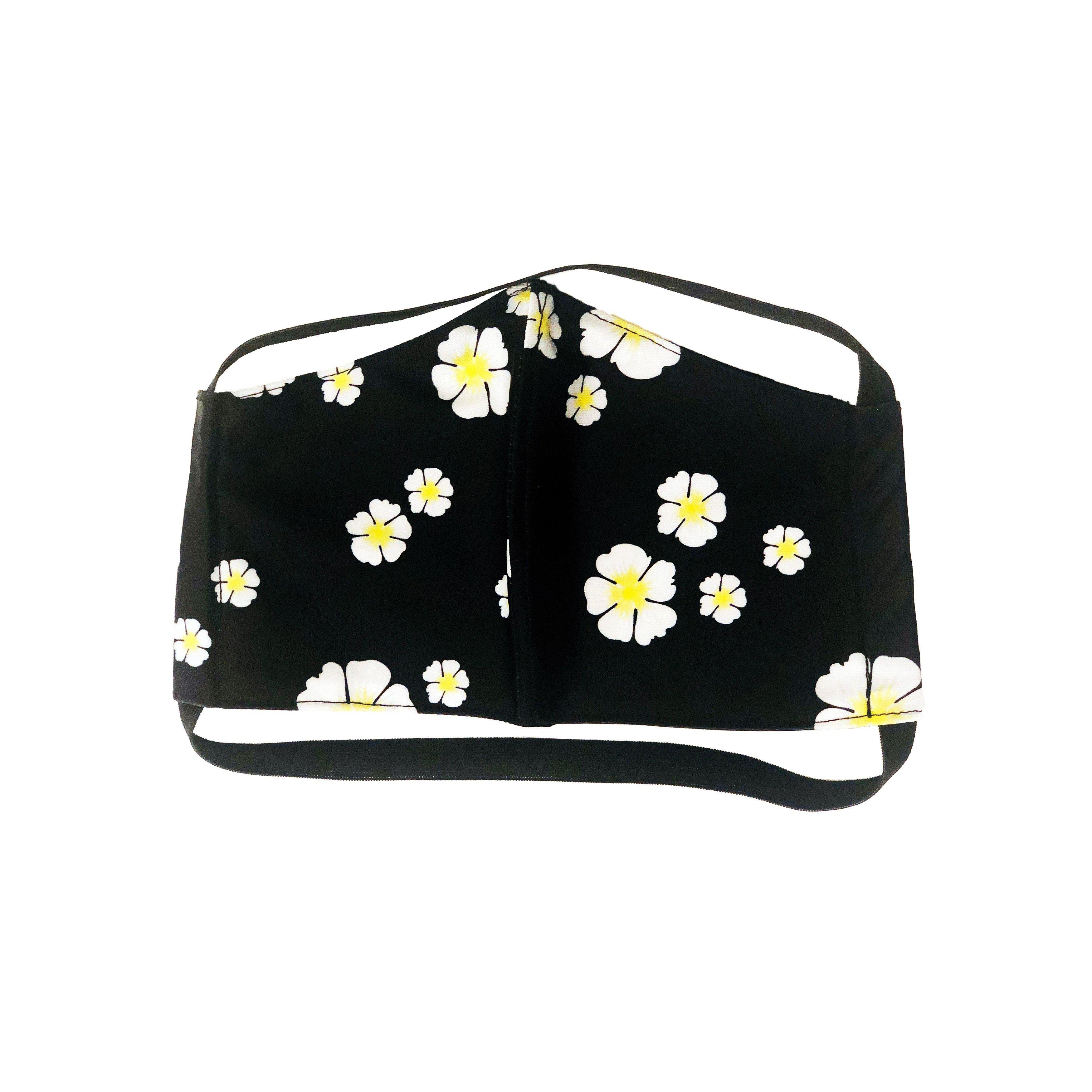 FACE MASK BLACK FLORAL PRINT WITH FILTER